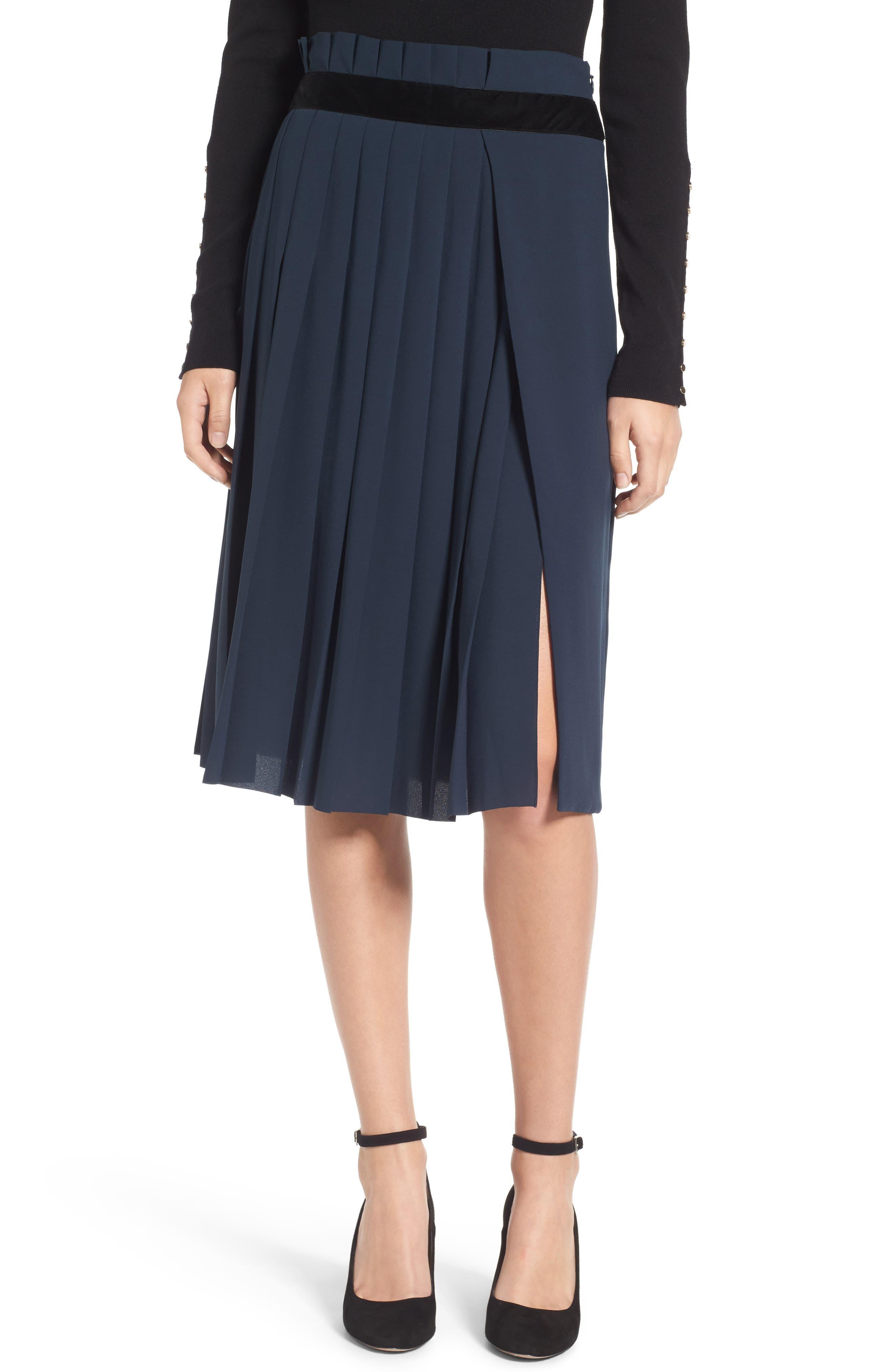 Velvet Trim Pleated Crepe Skirt,                             Main thumbnail 1, color,                             Green Scarab