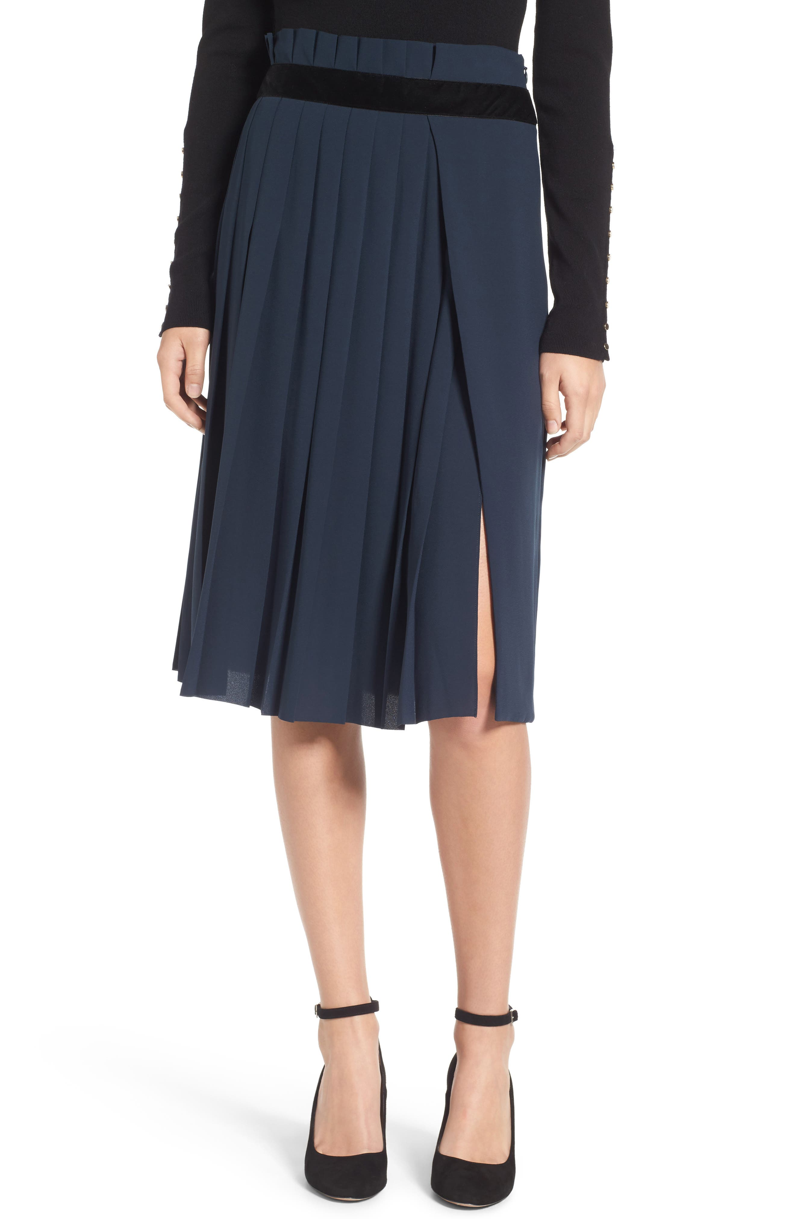 Velvet Trim Pleated Crepe Skirt,                         Main,                         color, Green Scarab