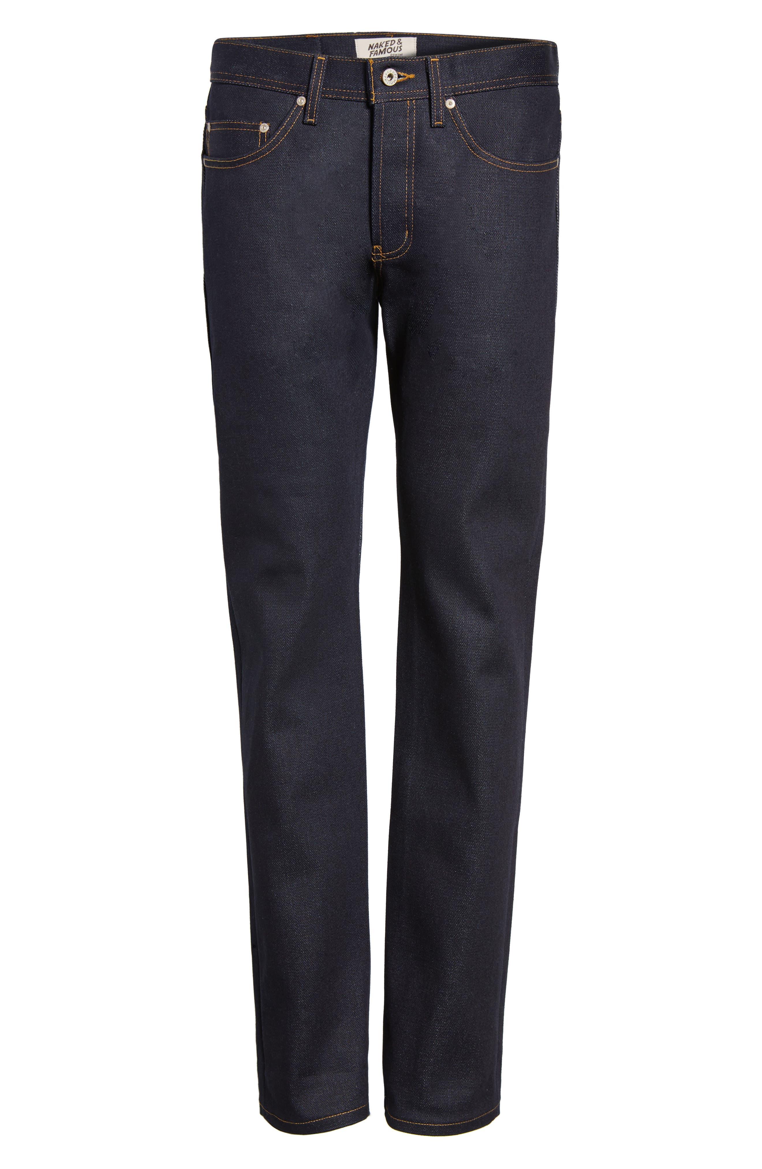 Alternate Image 6  - Naked & Famous Denim Weird Guy Slim Fit Jeans (Elephant 6)