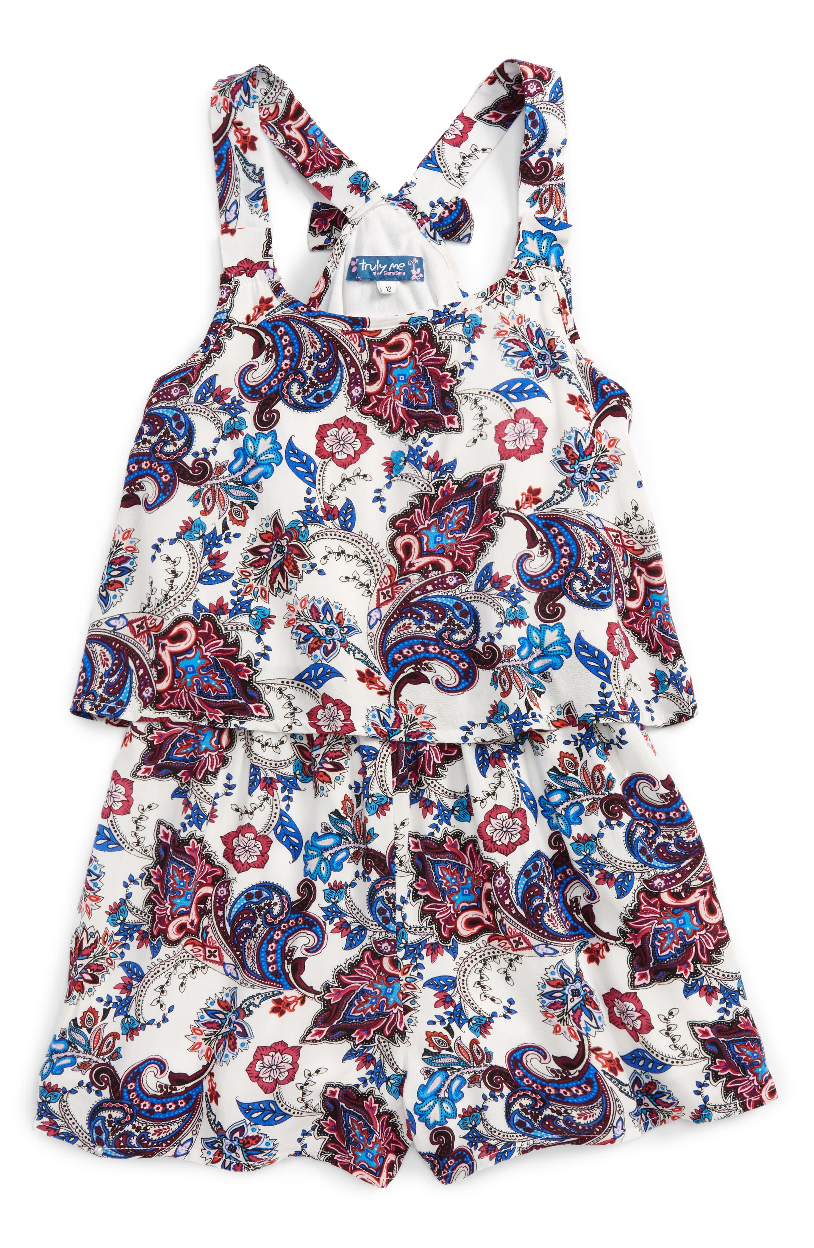 Main Image - Truly Me Paisley Print Popover Romper (Big Girls)