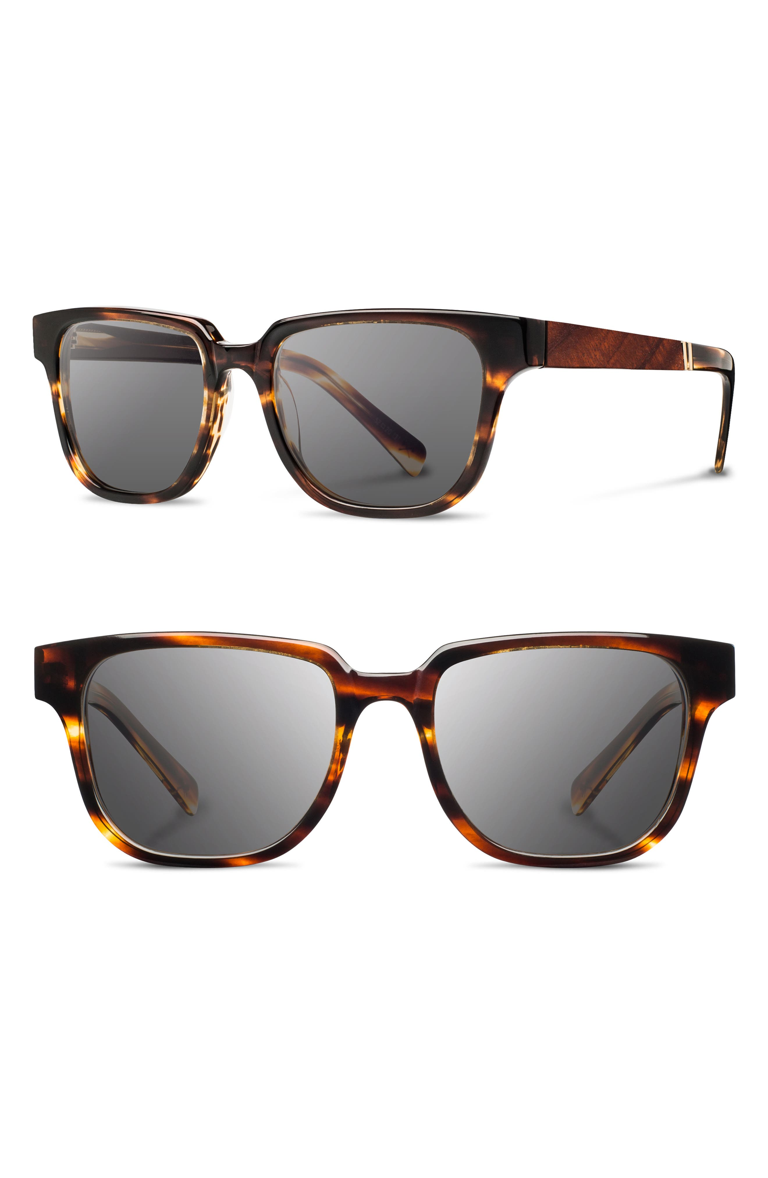 'Prescott' 52mm Polarized Sunglasses,                         Main,                         color, Tortoise/ Mahogany/ Grey