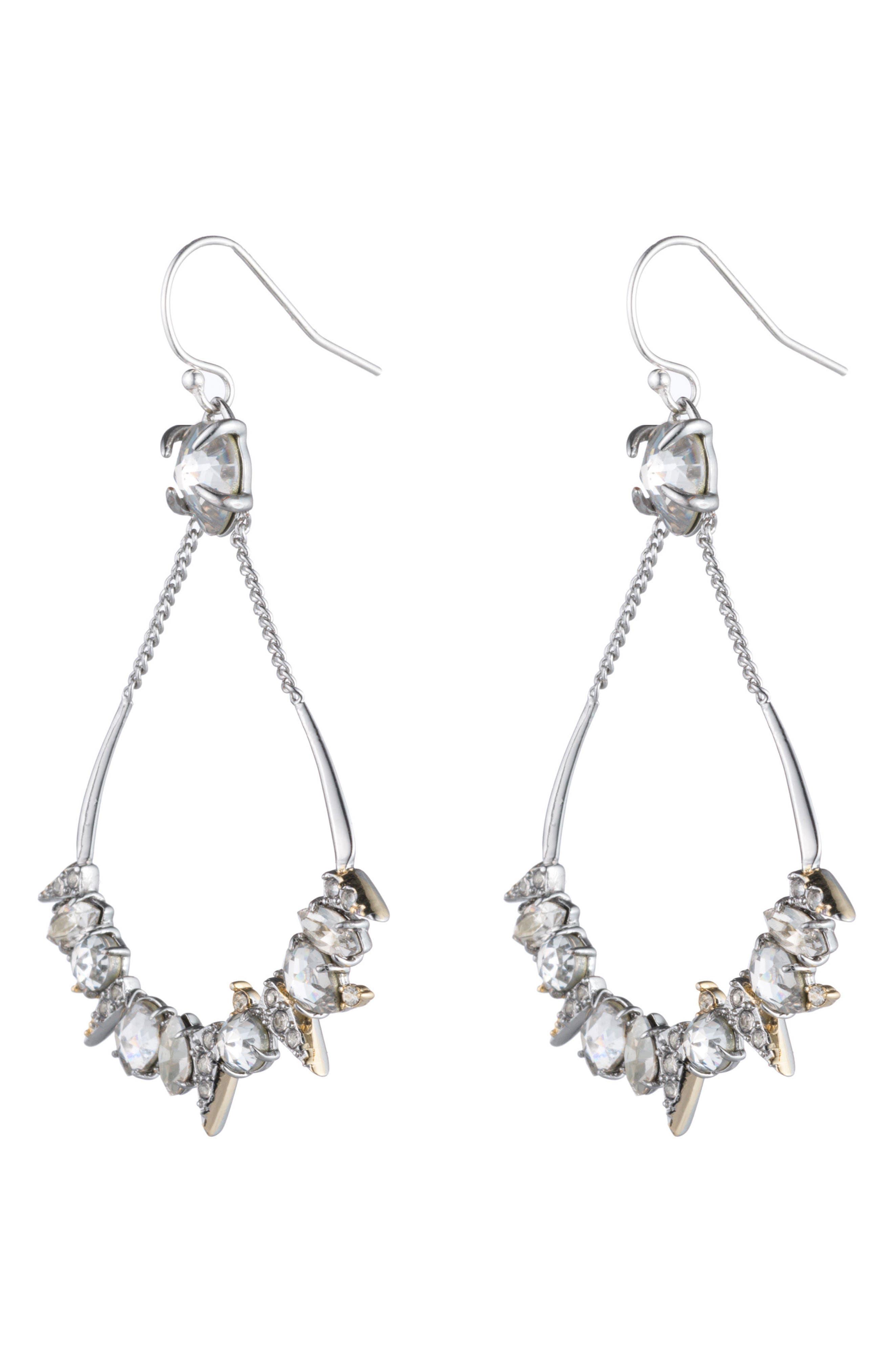 Crystal Encrusted Mosaic Drop Earrings,                             Main thumbnail 1, color,                             Gold