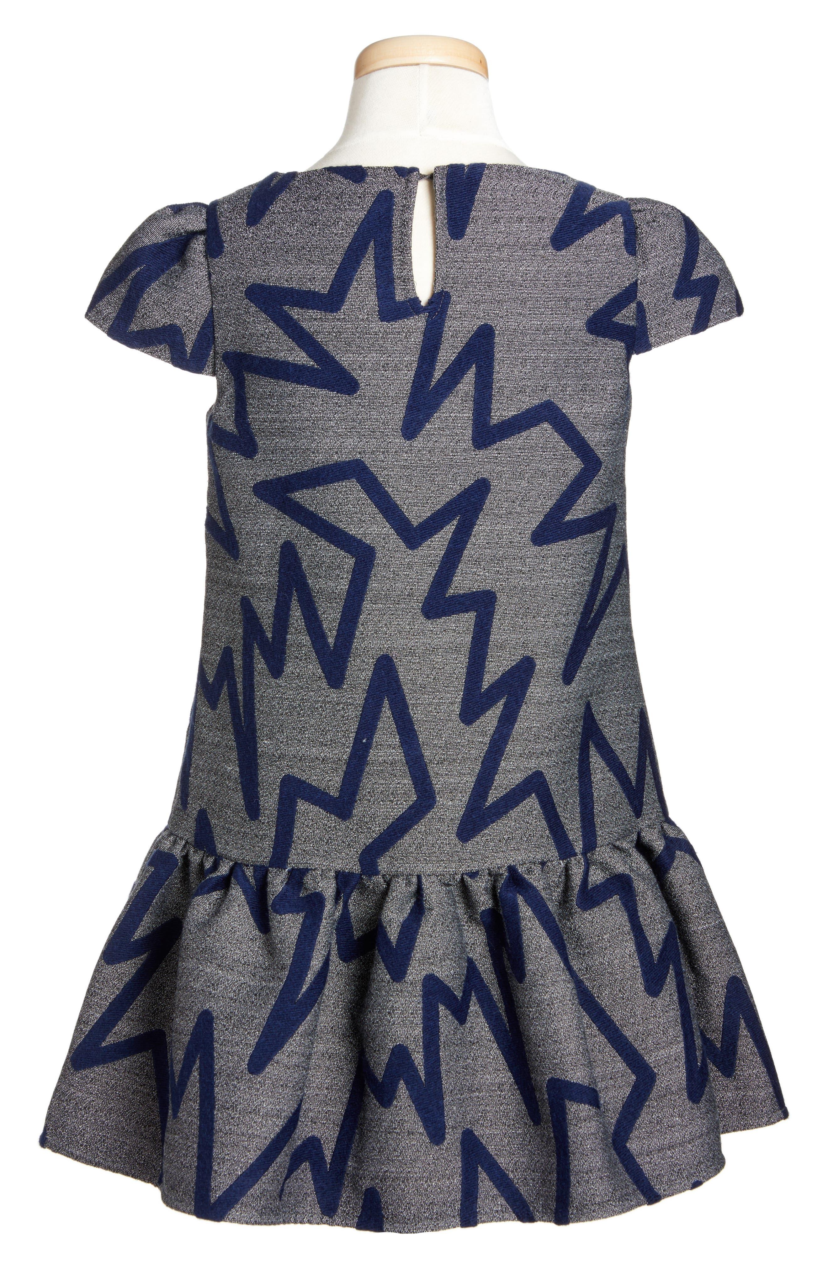 Zig Zag Drop Waist Dress,                             Alternate thumbnail 2, color,                             Grey