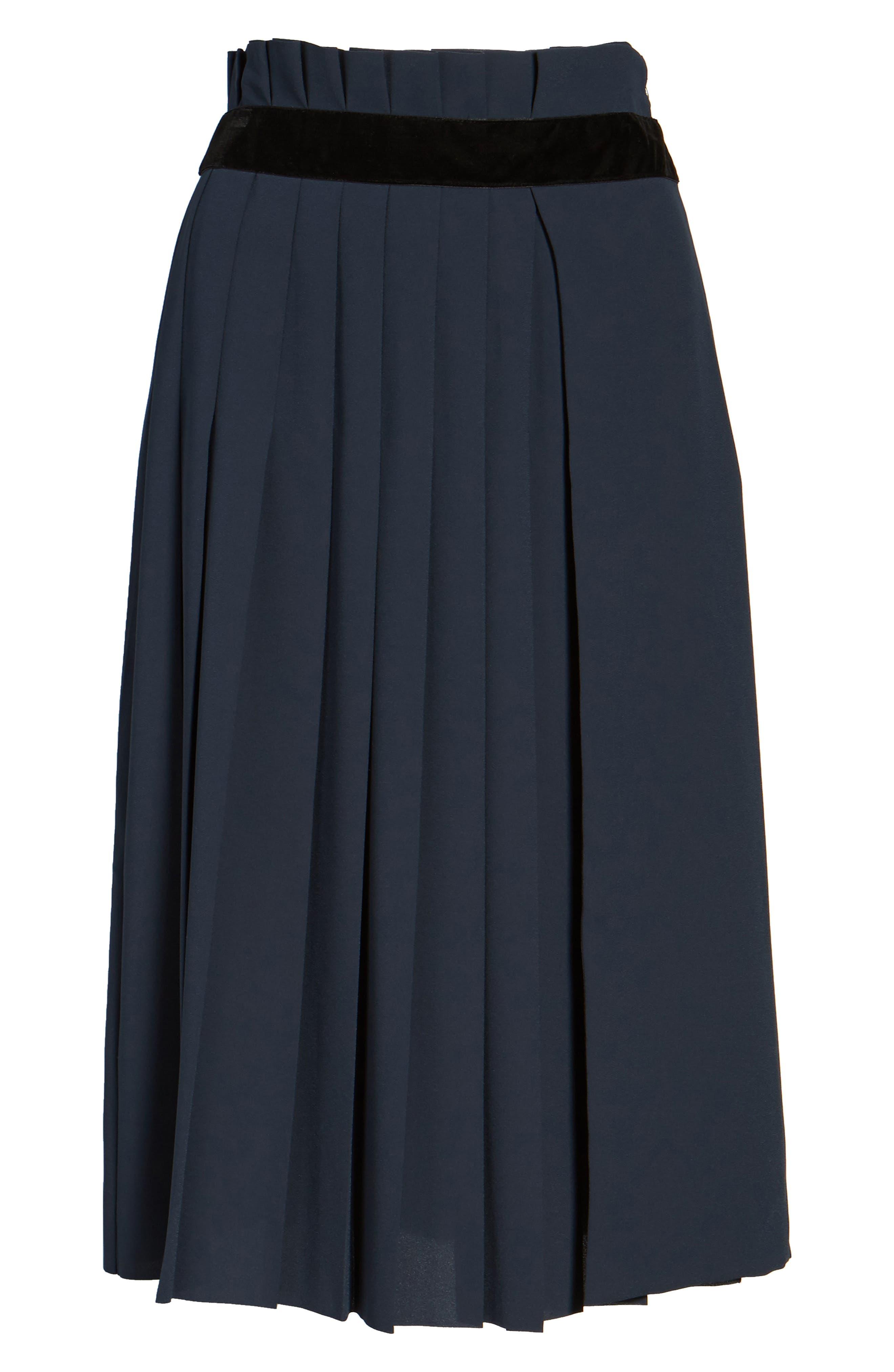Velvet Trim Pleated Crepe Skirt,                             Alternate thumbnail 6, color,                             Green Scarab