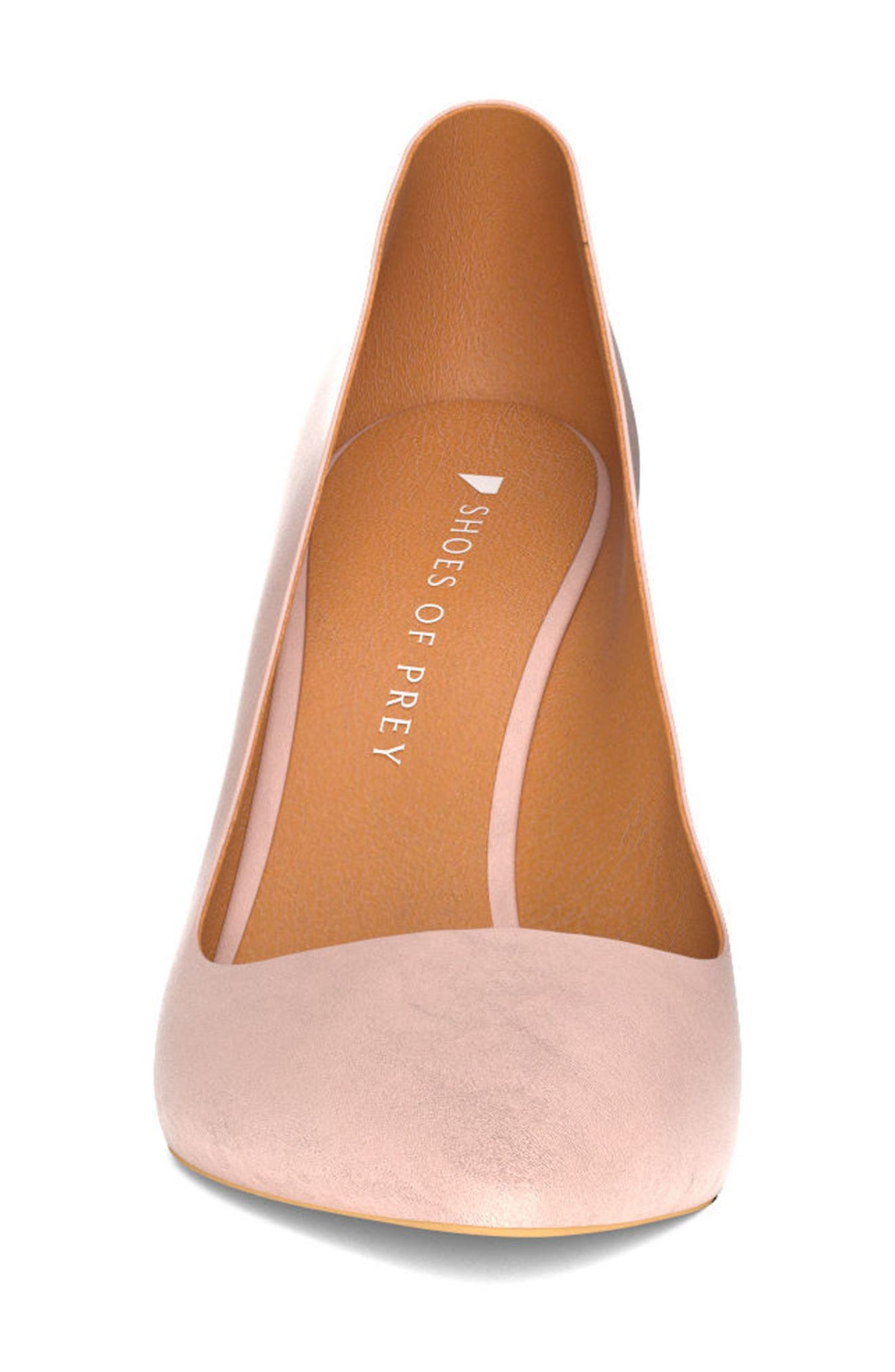 Pointy Toe Pump,                             Alternate thumbnail 4, color,                             Blush Nude Leather