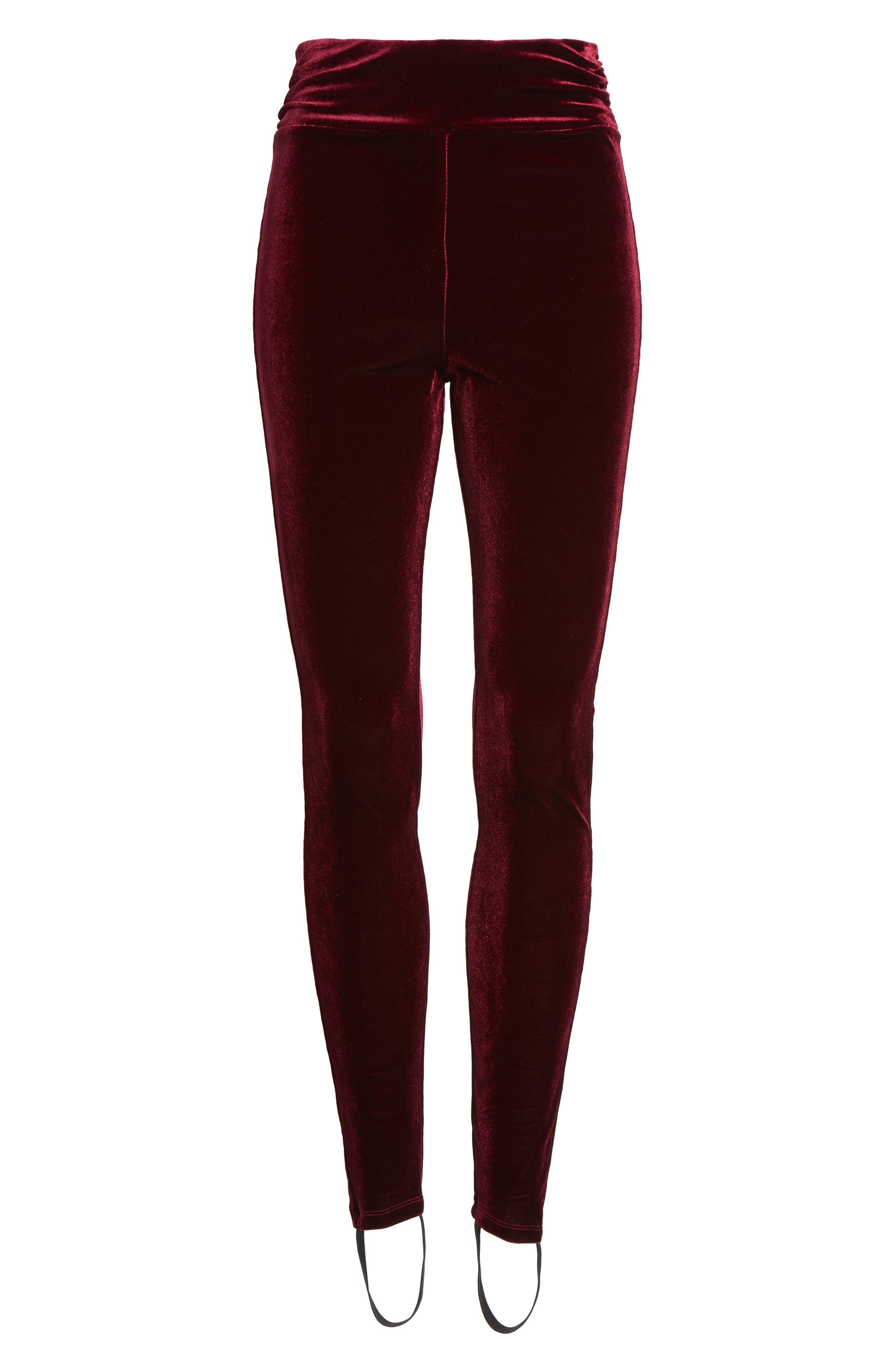 High Waist Velour Stirrup Pants,                             Alternate thumbnail 6, color,                             Red Tannin