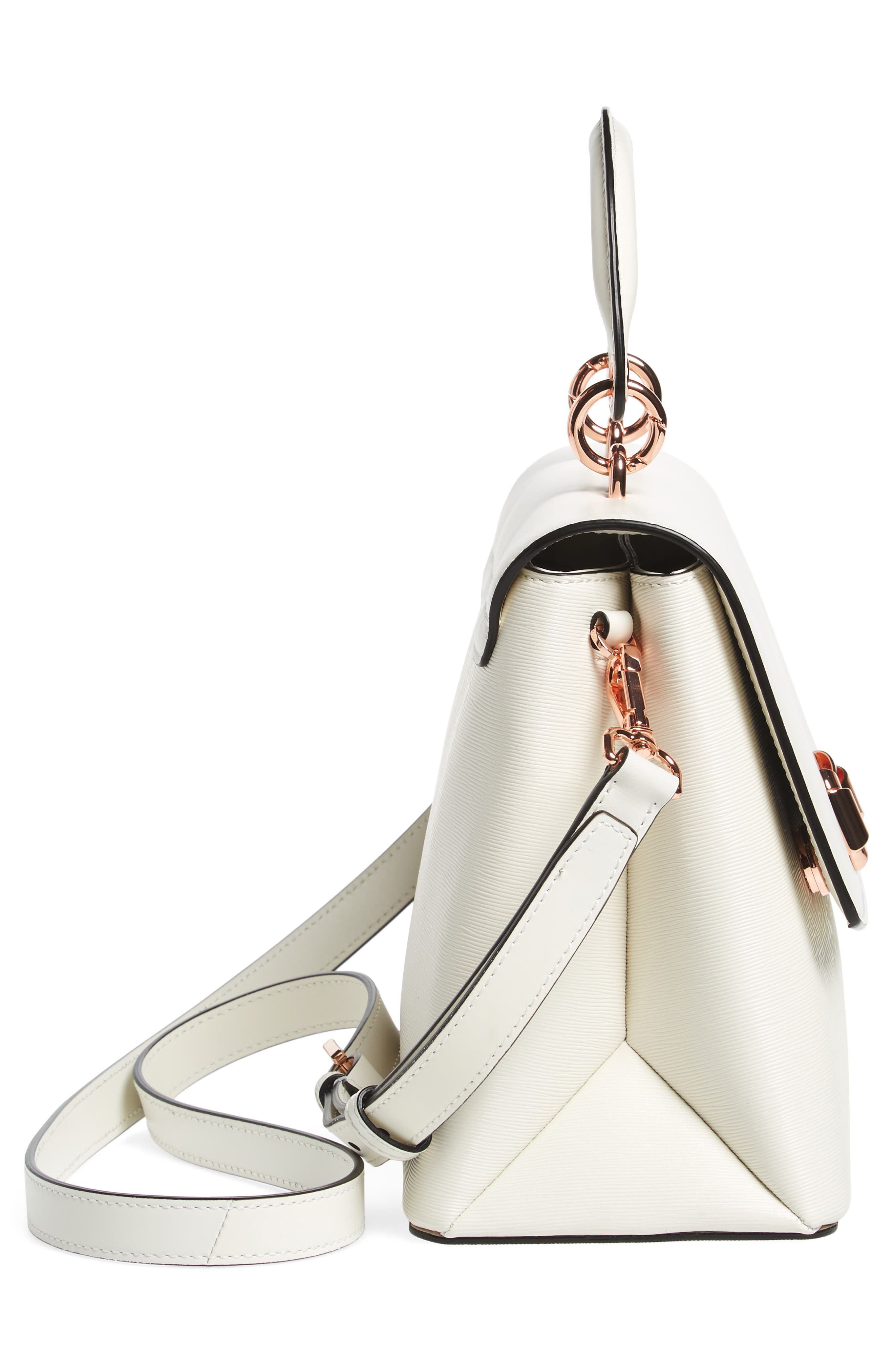 Lady Bow Flap Top Handle Leather Satchel,                             Alternate thumbnail 4, color,                             Ivory
