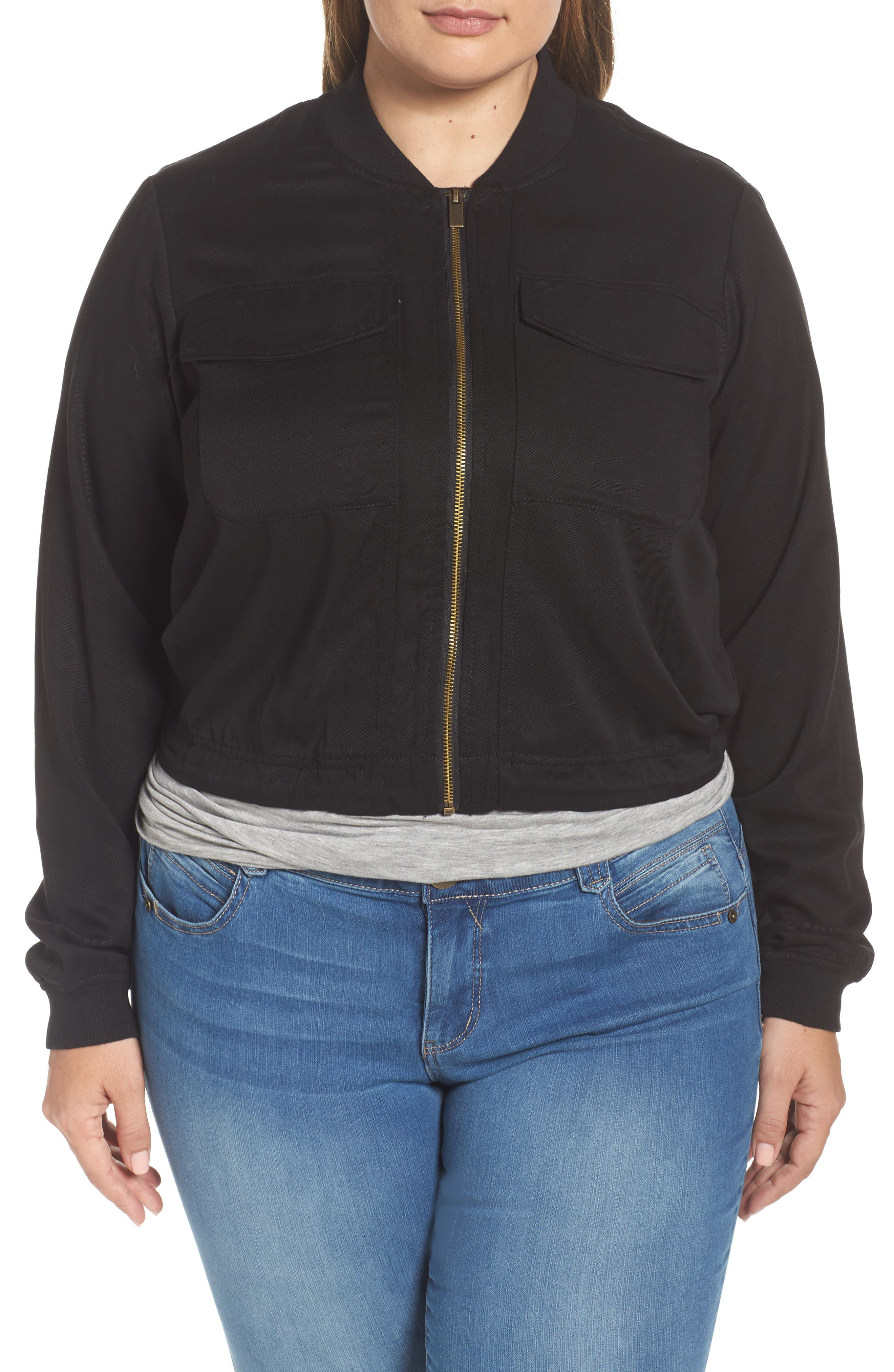 Alternate Image 1 Selected - RACHEL Rachel Roy Drawstring Hem Bomber Jacket (Plus Size)
