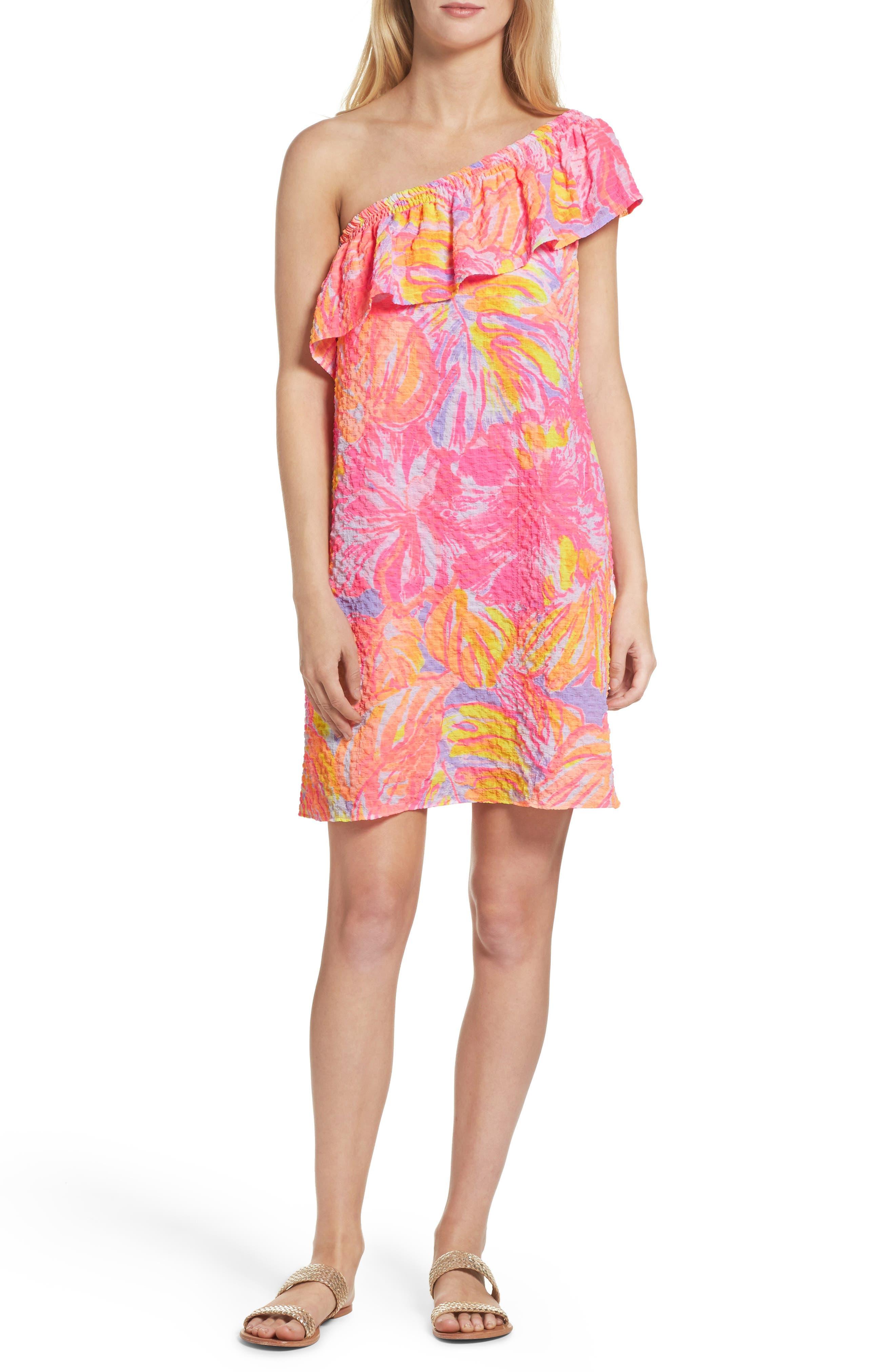 Emmeline One-Shoulder Dress,                         Main,                         color, Multi Sun Splashed