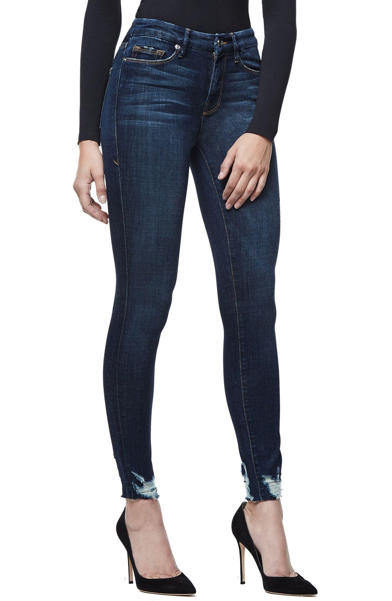 Good Legs Raw Hem Skinny Jeans,                             Alternate thumbnail 3, color,                             Blue080