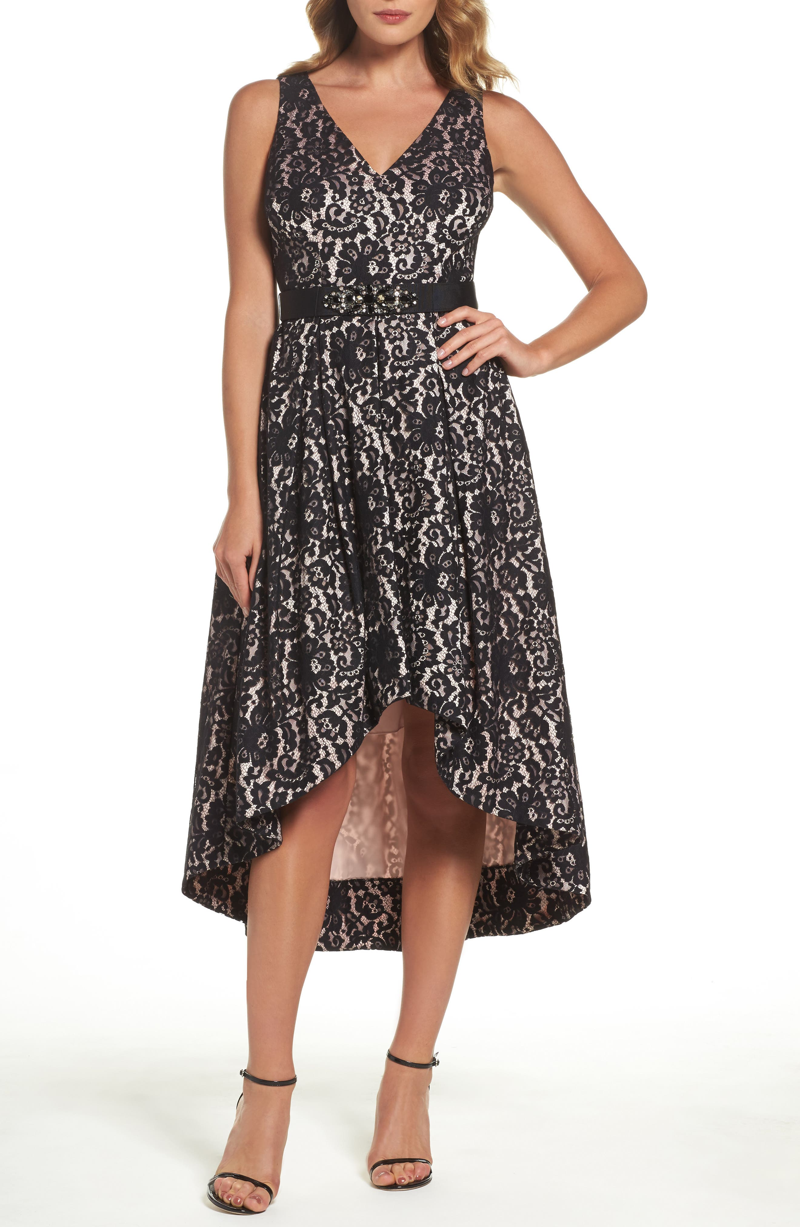 Belted Lace High/Low Dress,                             Main thumbnail 1, color,                             Black/ Blush