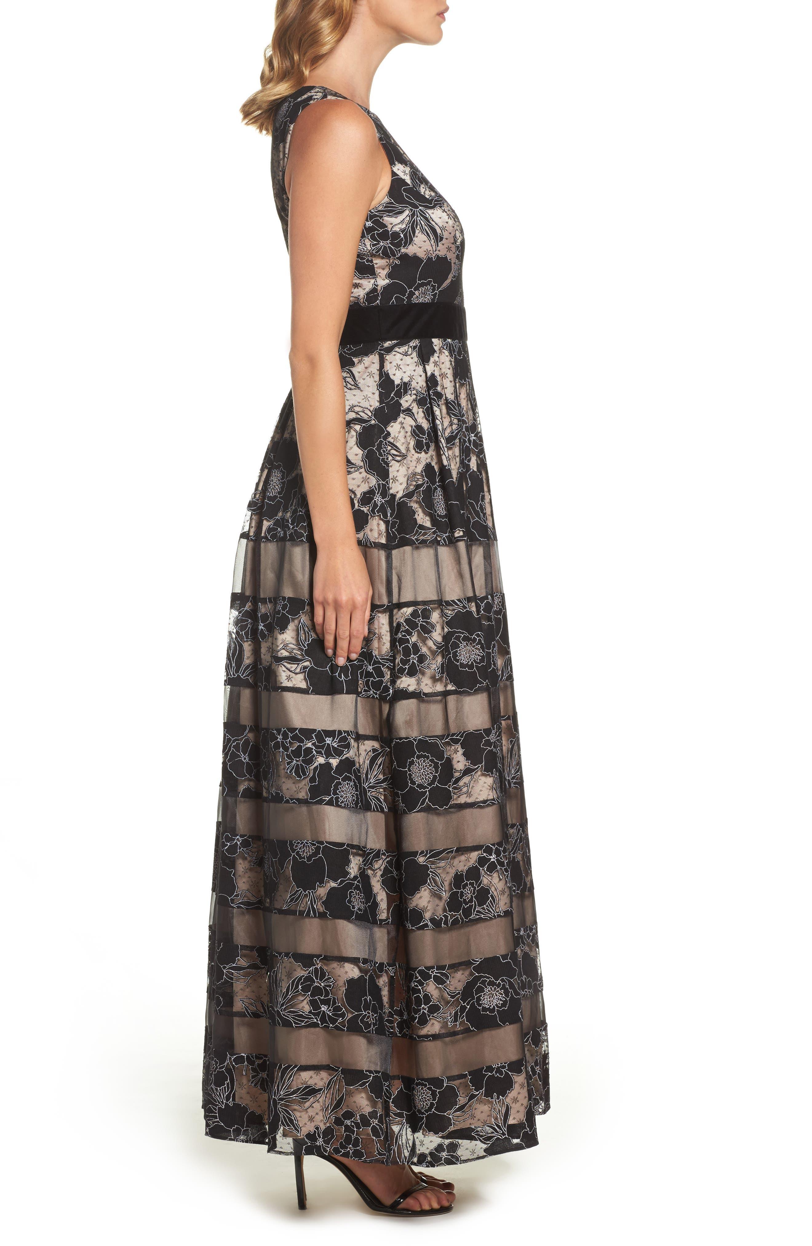 Alternate Image 3  - Eliza J Inset Waist Panel Lace Ballgown (Regular & Petite)