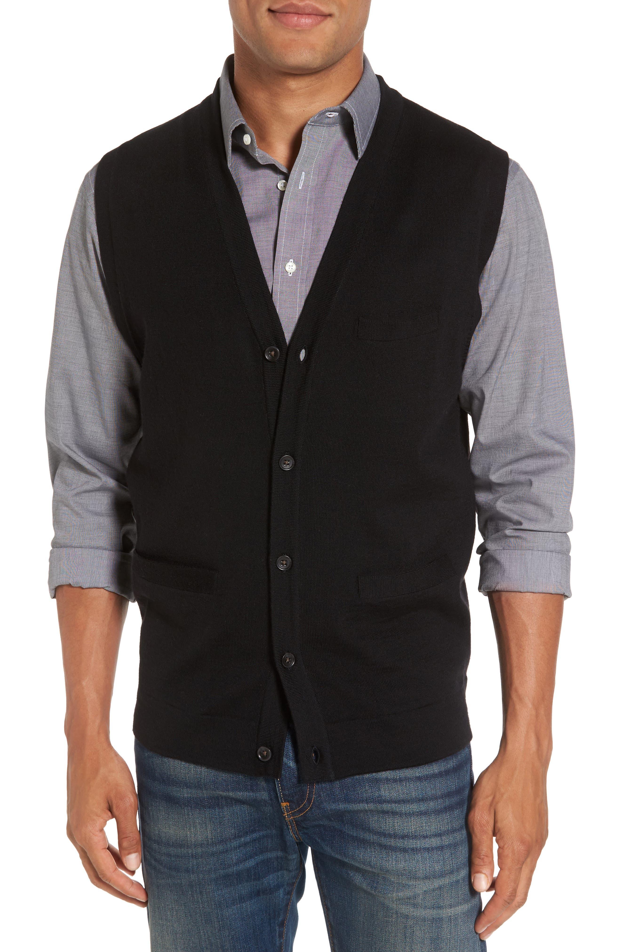 Main Image - Nordstrom Men's Shop Merino Button Front Sweater Vest