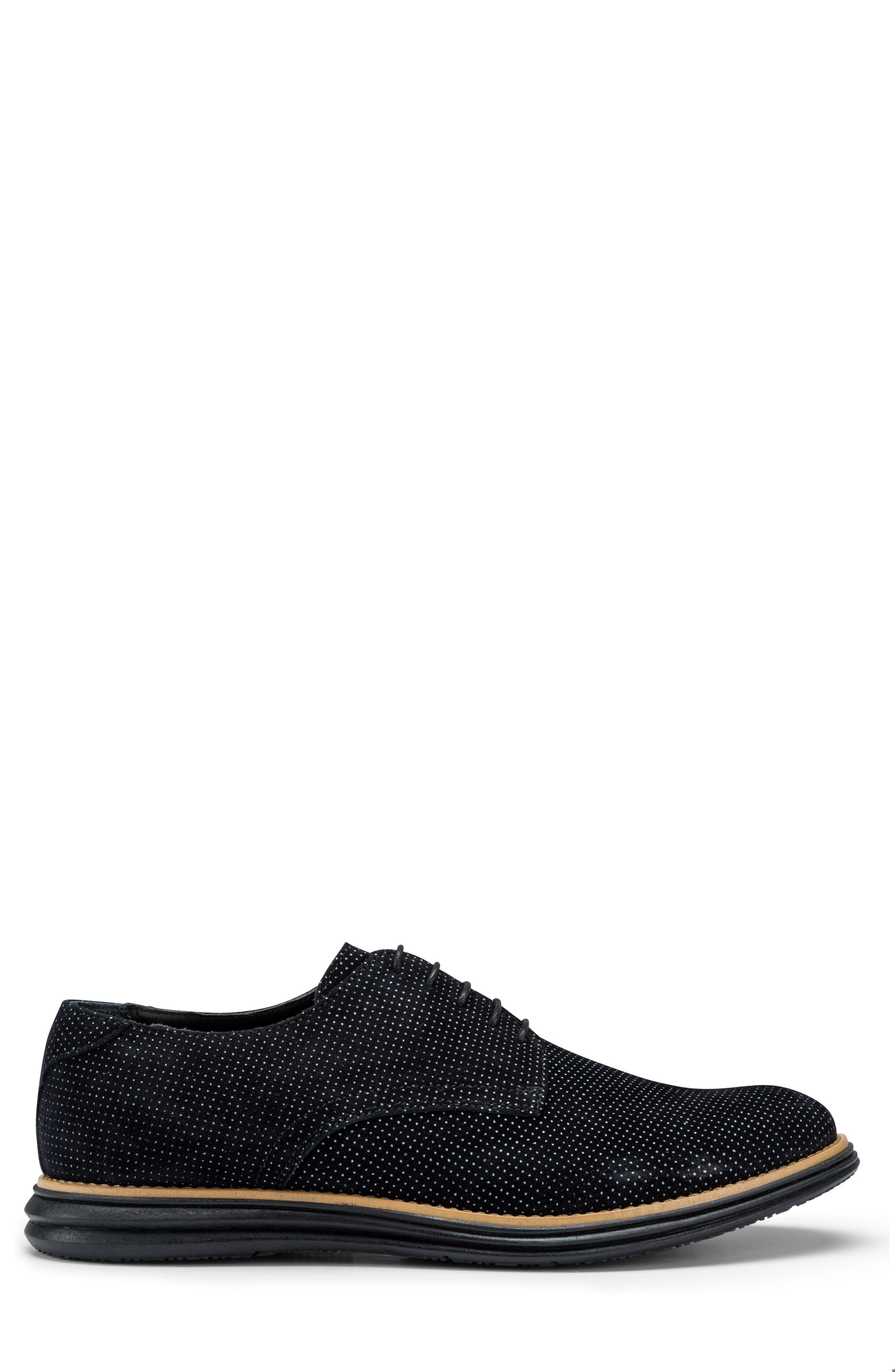 Manarola Dot Pattern Derby,                             Alternate thumbnail 3, color,                             Nero Suede