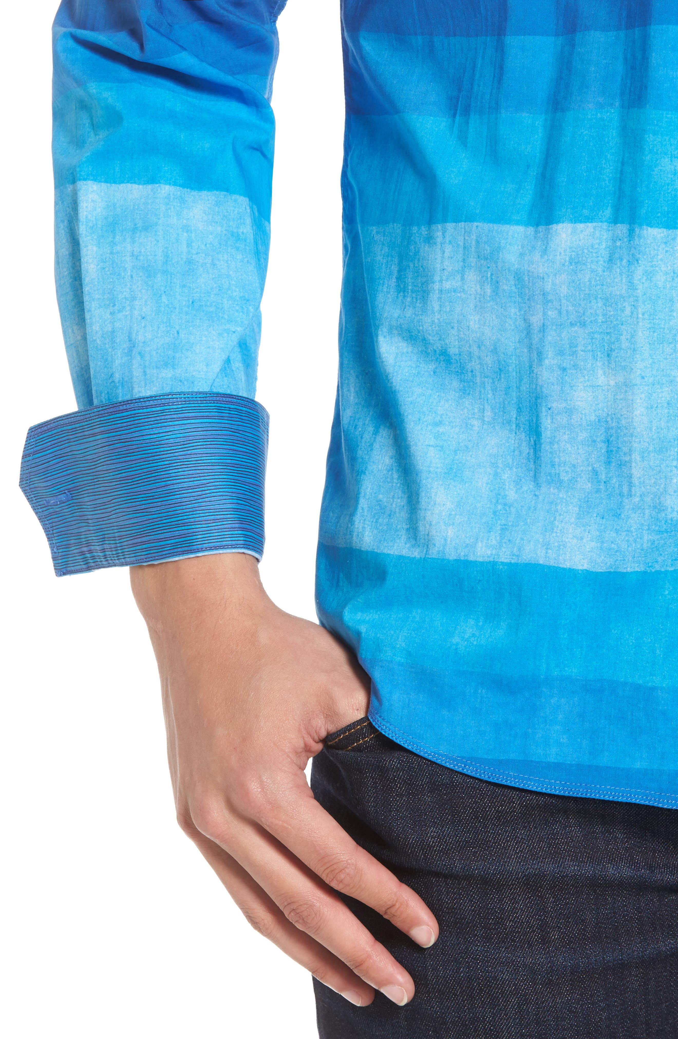 Shaped Fit Colorblock Sport Shirt,                             Alternate thumbnail 4, color,                             Classic Blue