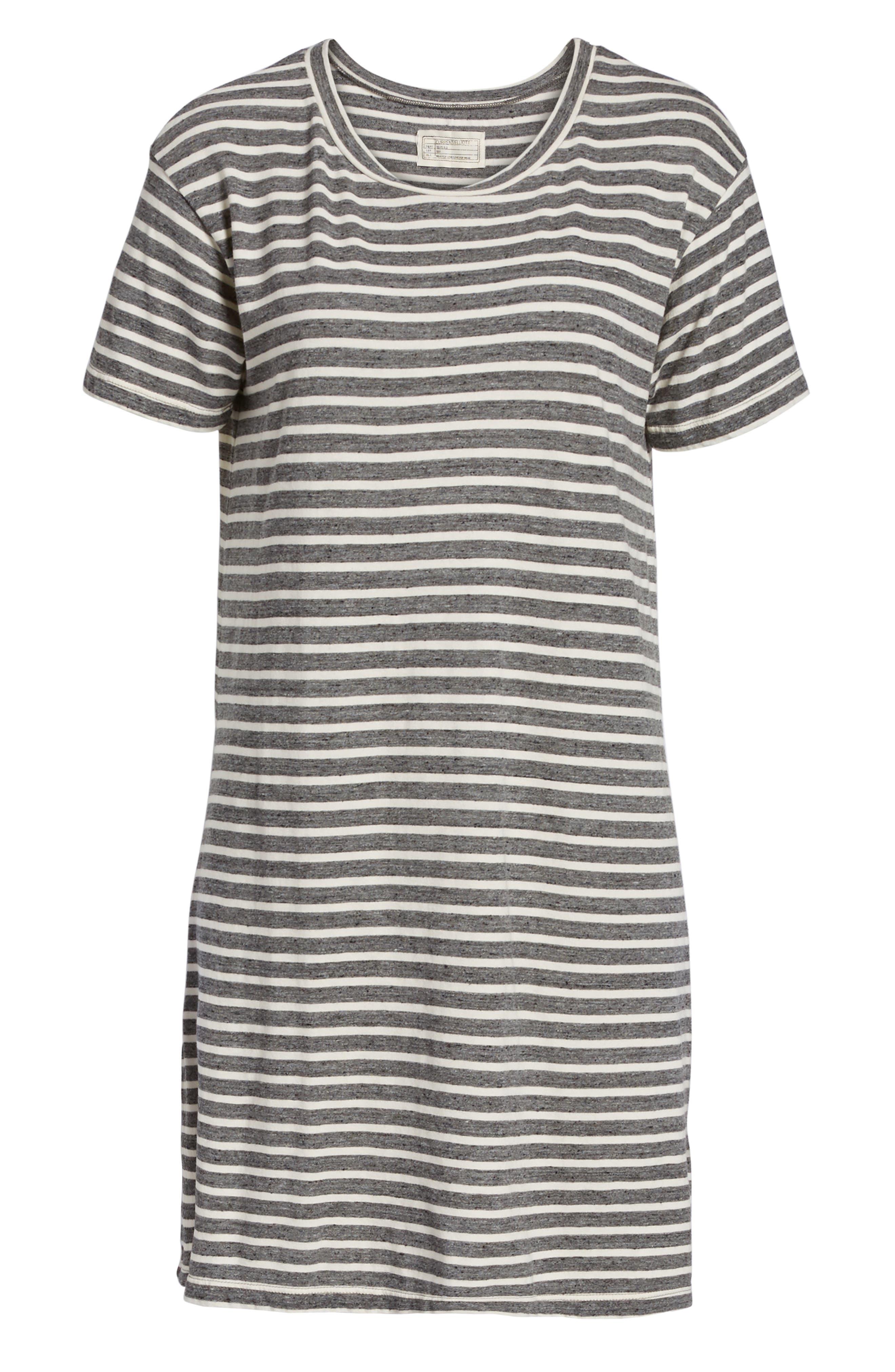 Stripe Knit T-Shirt Dress,                             Alternate thumbnail 6, color,                             Charcoal Anchor Stripe