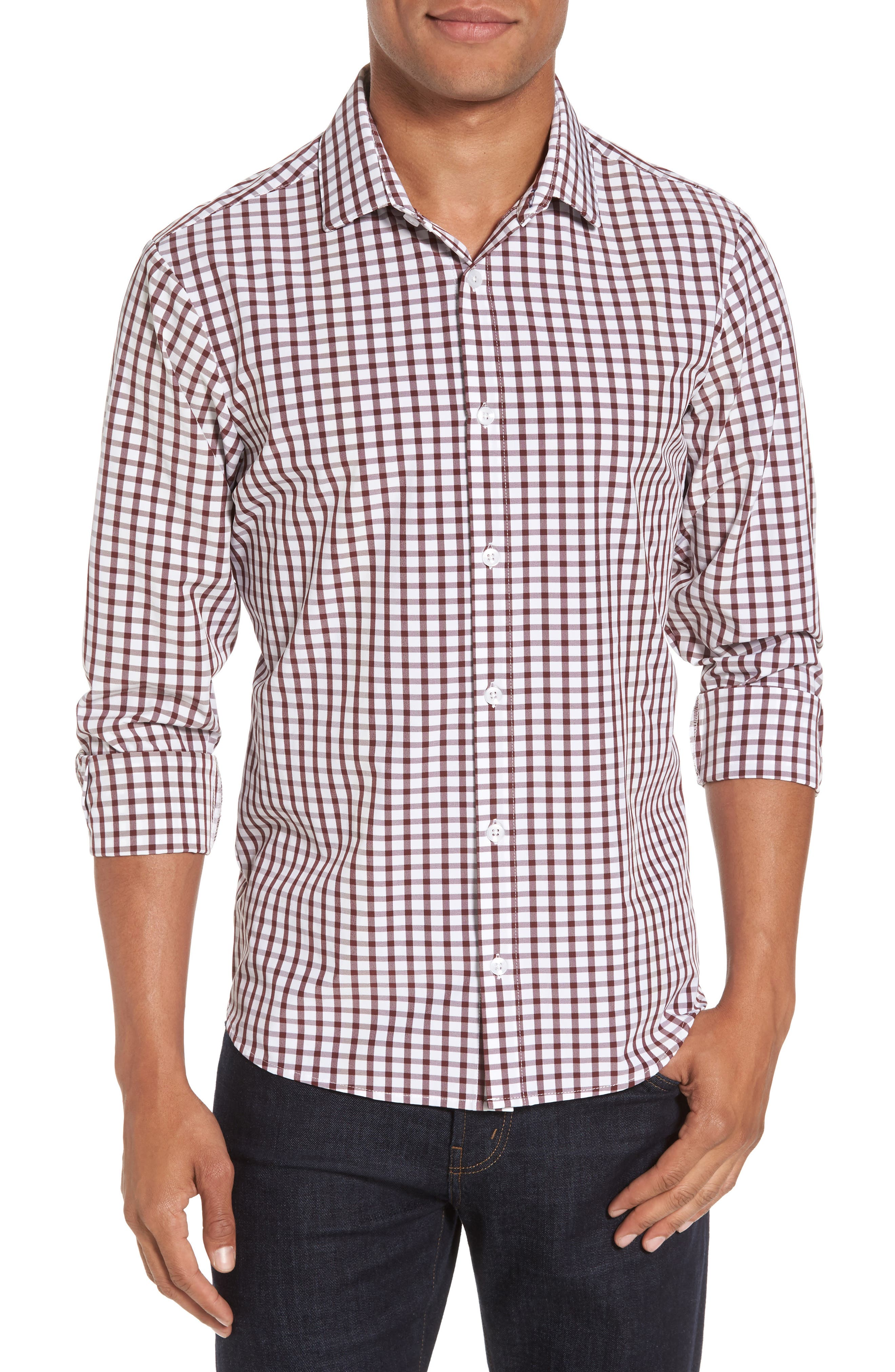 Cooper Check Performance Sport Shirt,                         Main,                         color, Red