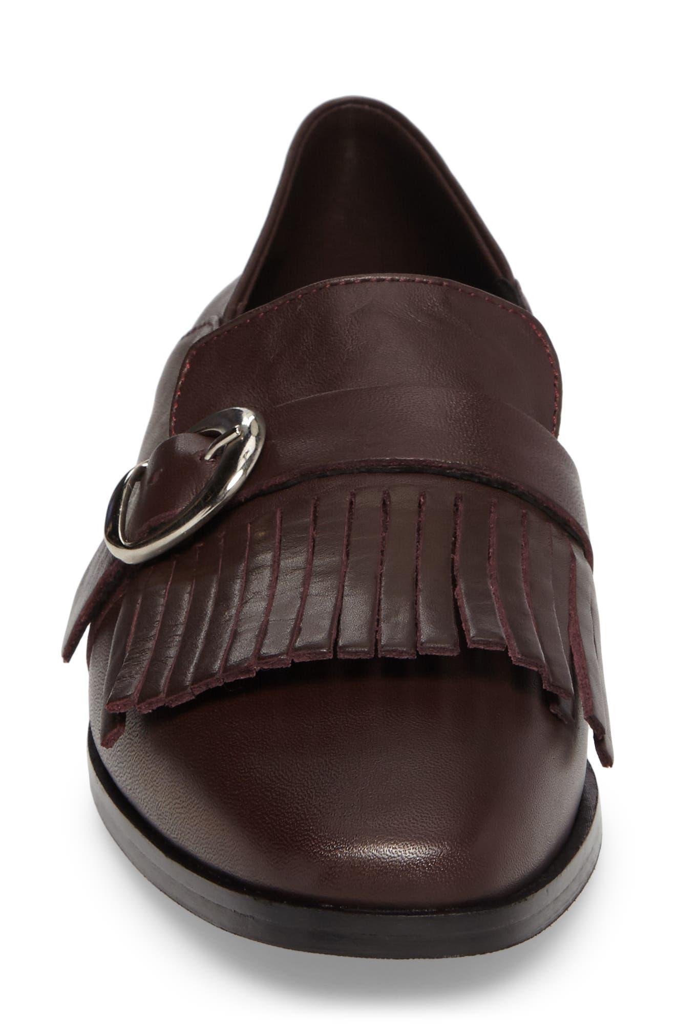 Dame Fringed Loafer Flat,                             Alternate thumbnail 4, color,                             Burgundy Leather