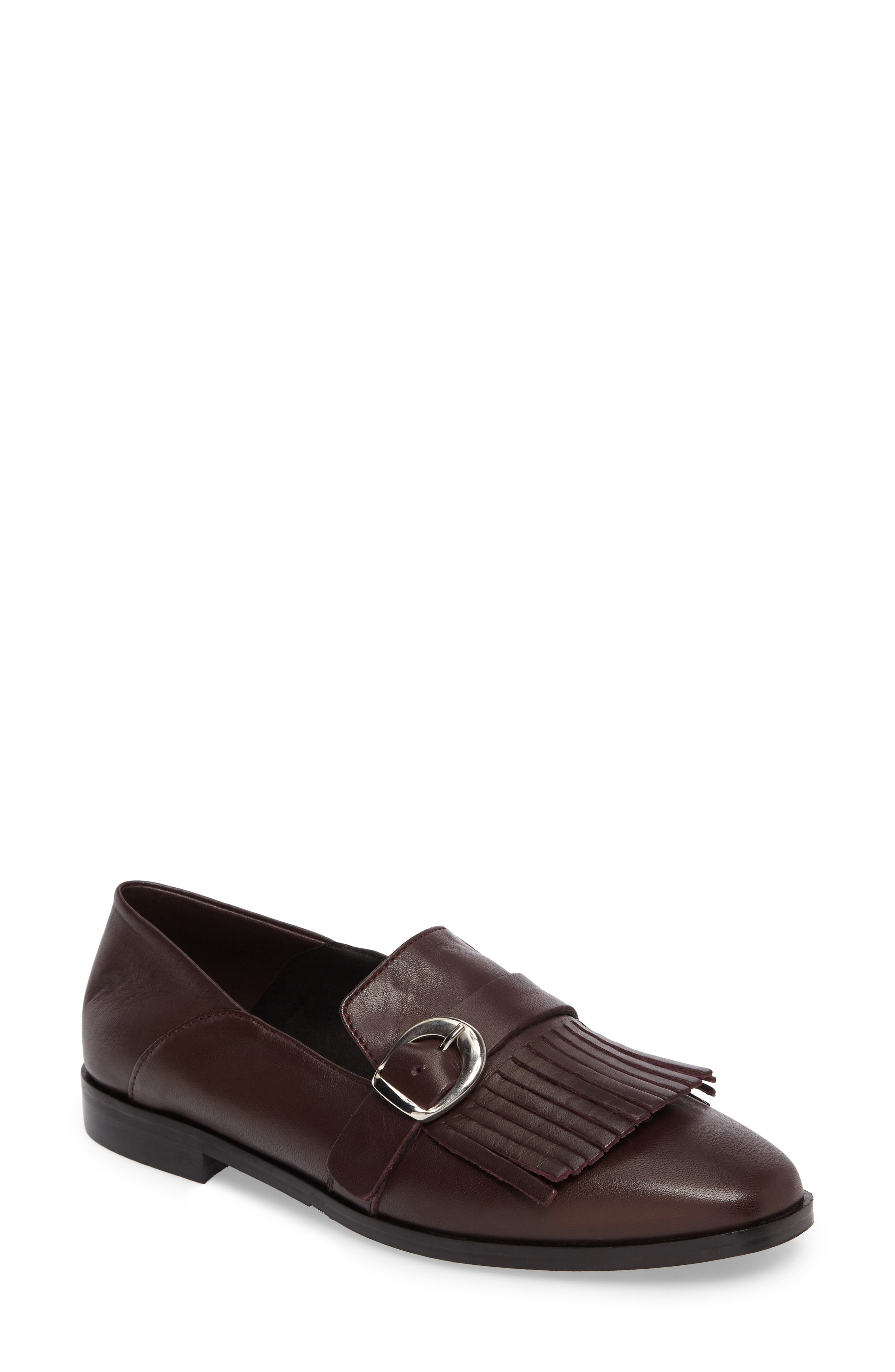 Dame Fringed Loafer Flat,                             Main thumbnail 1, color,                             Burgundy Leather