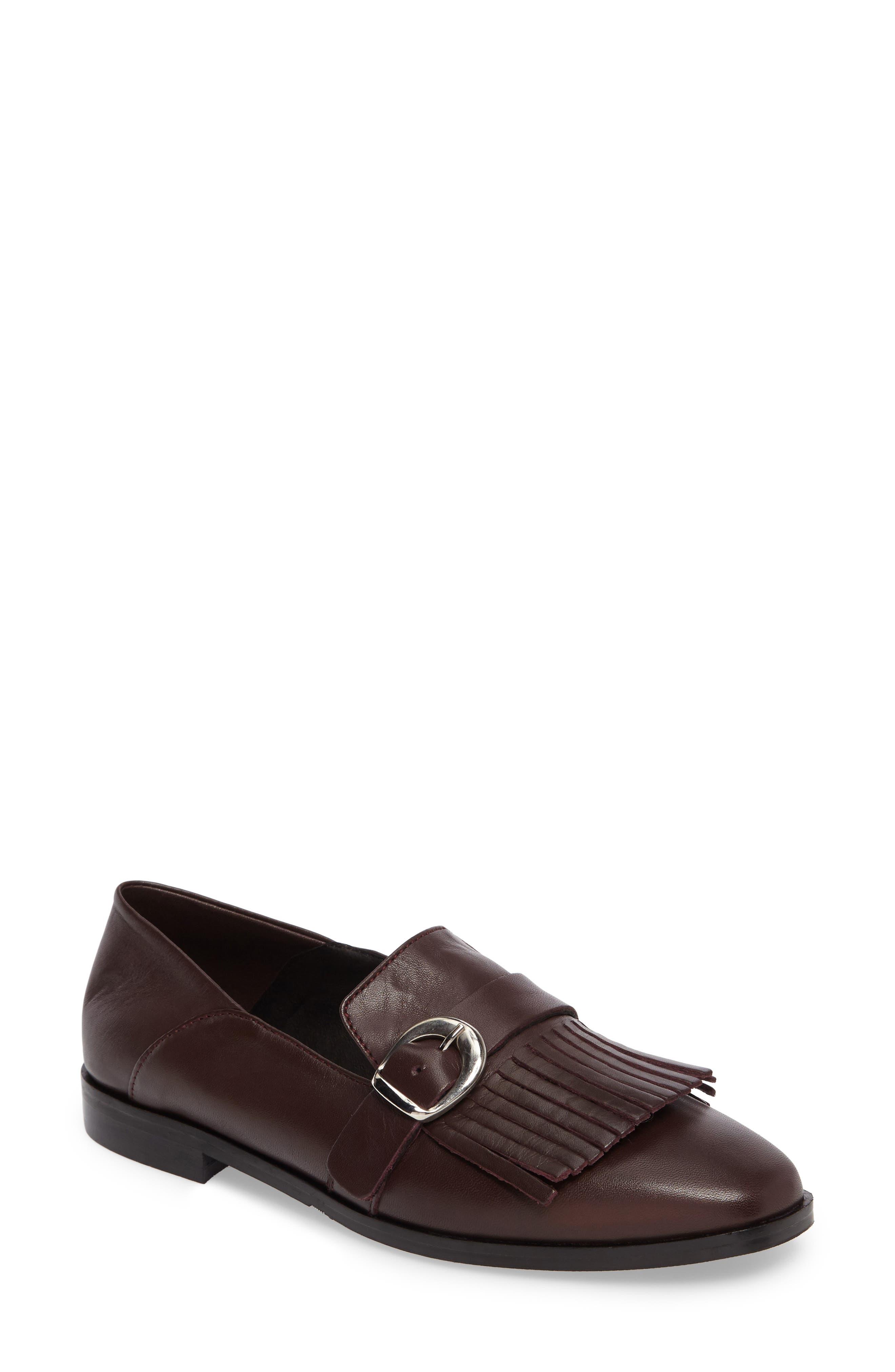 Dame Fringed Loafer Flat,                         Main,                         color, Burgundy Leather