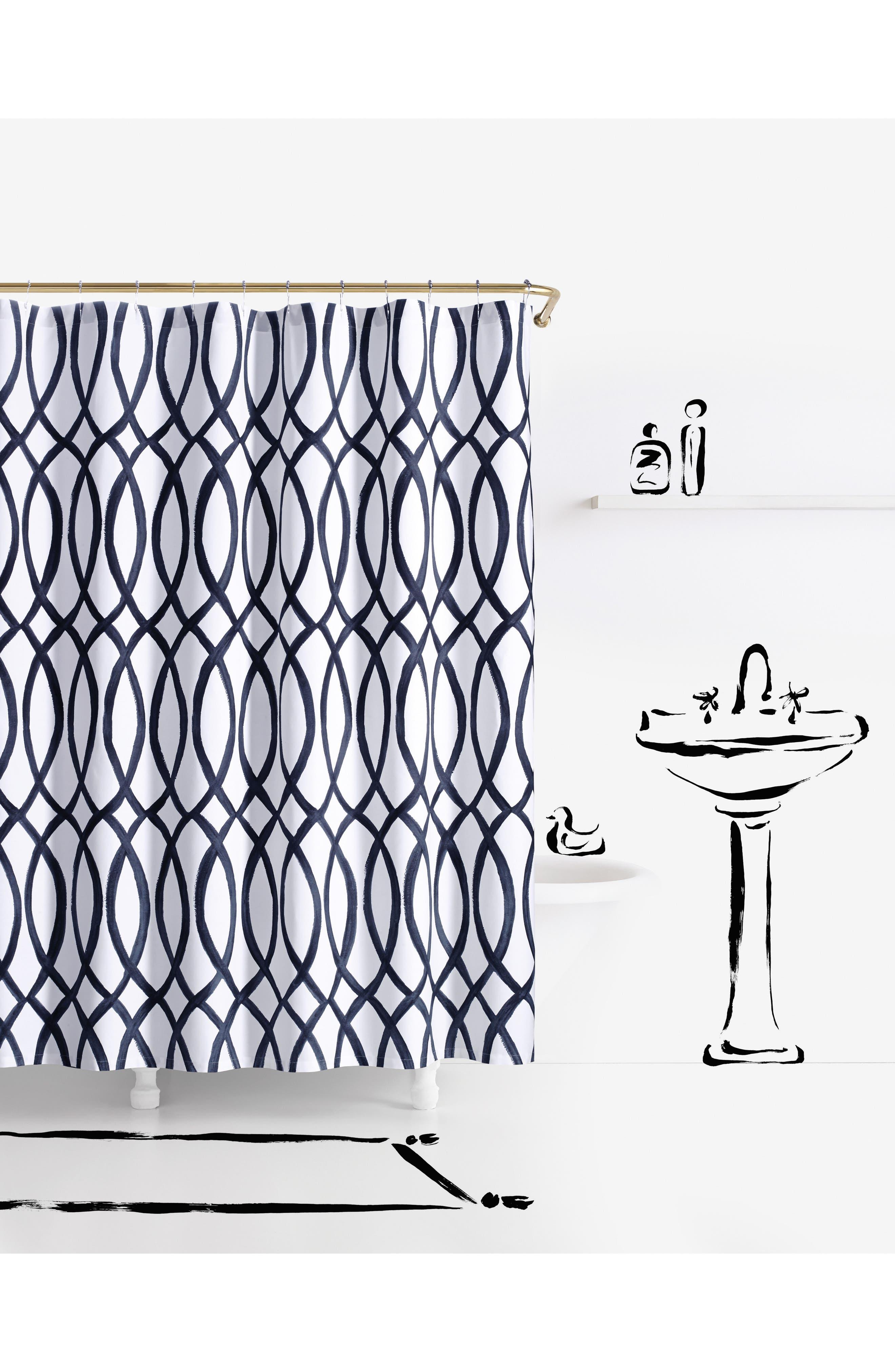 painted trellis shower curtain,                         Main,                         color, White