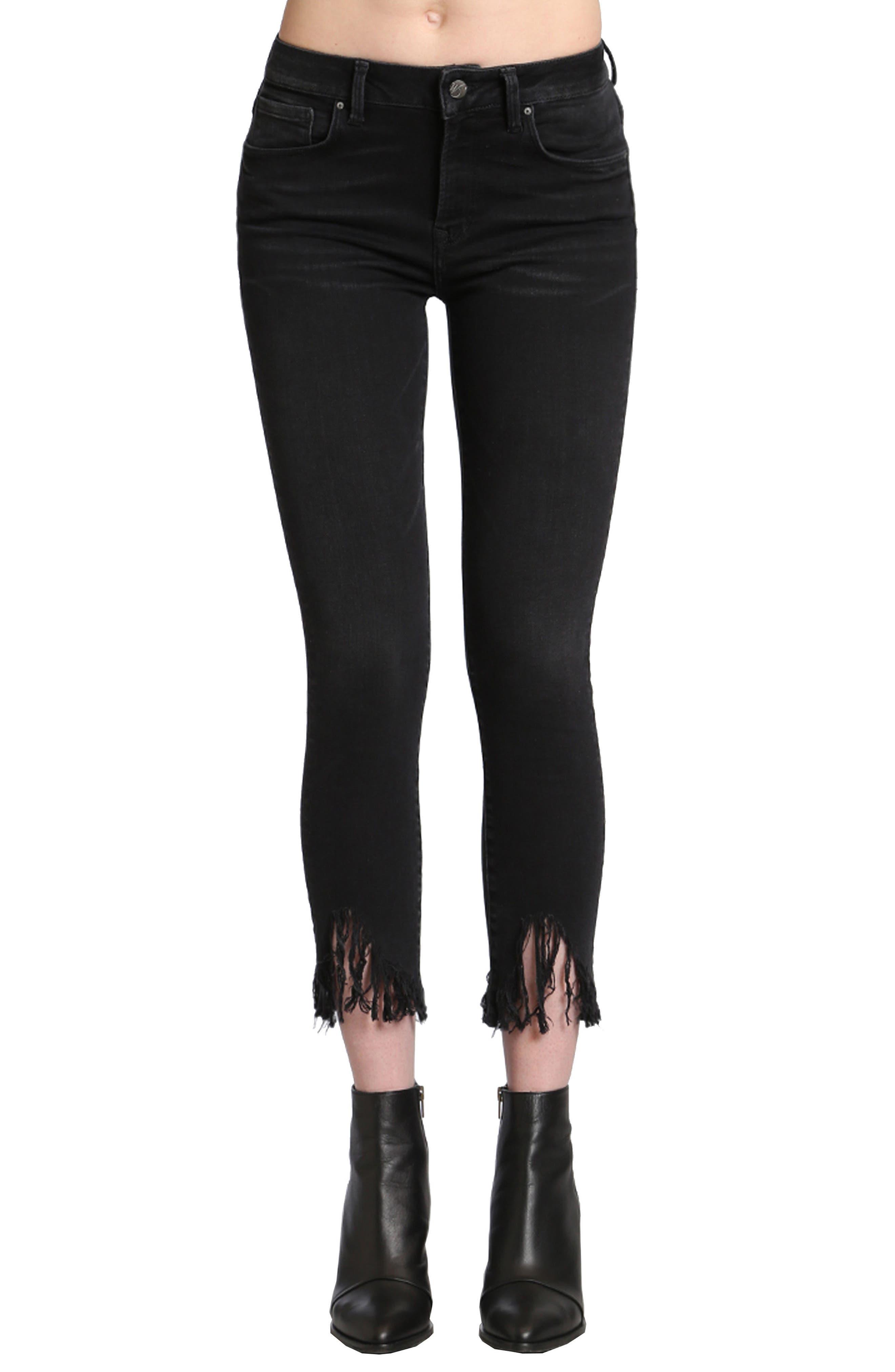 Main Image - Mavi Jeans Tess Fringe Skinny Crop Jeans (Smoke)