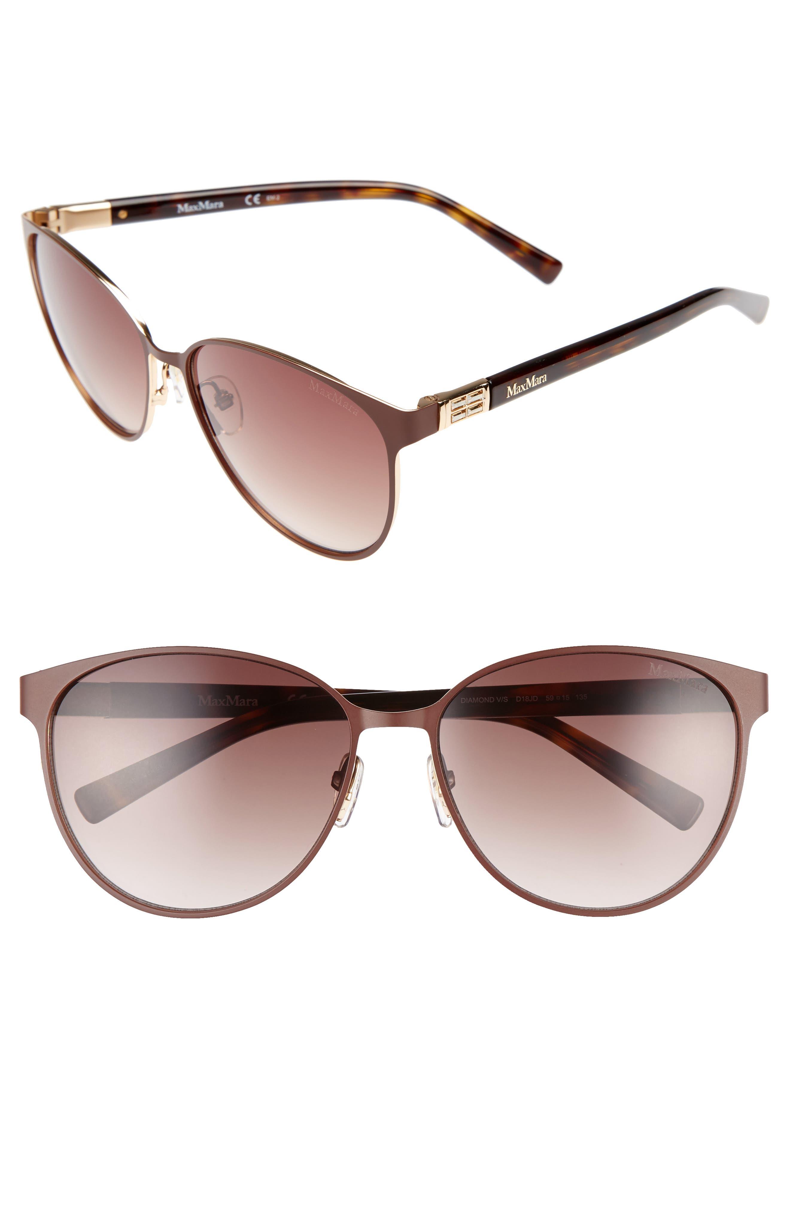 Diamov 59mm Gradient Cat Eye Sunglasses,                             Main thumbnail 1, color,                             Matte Brown
