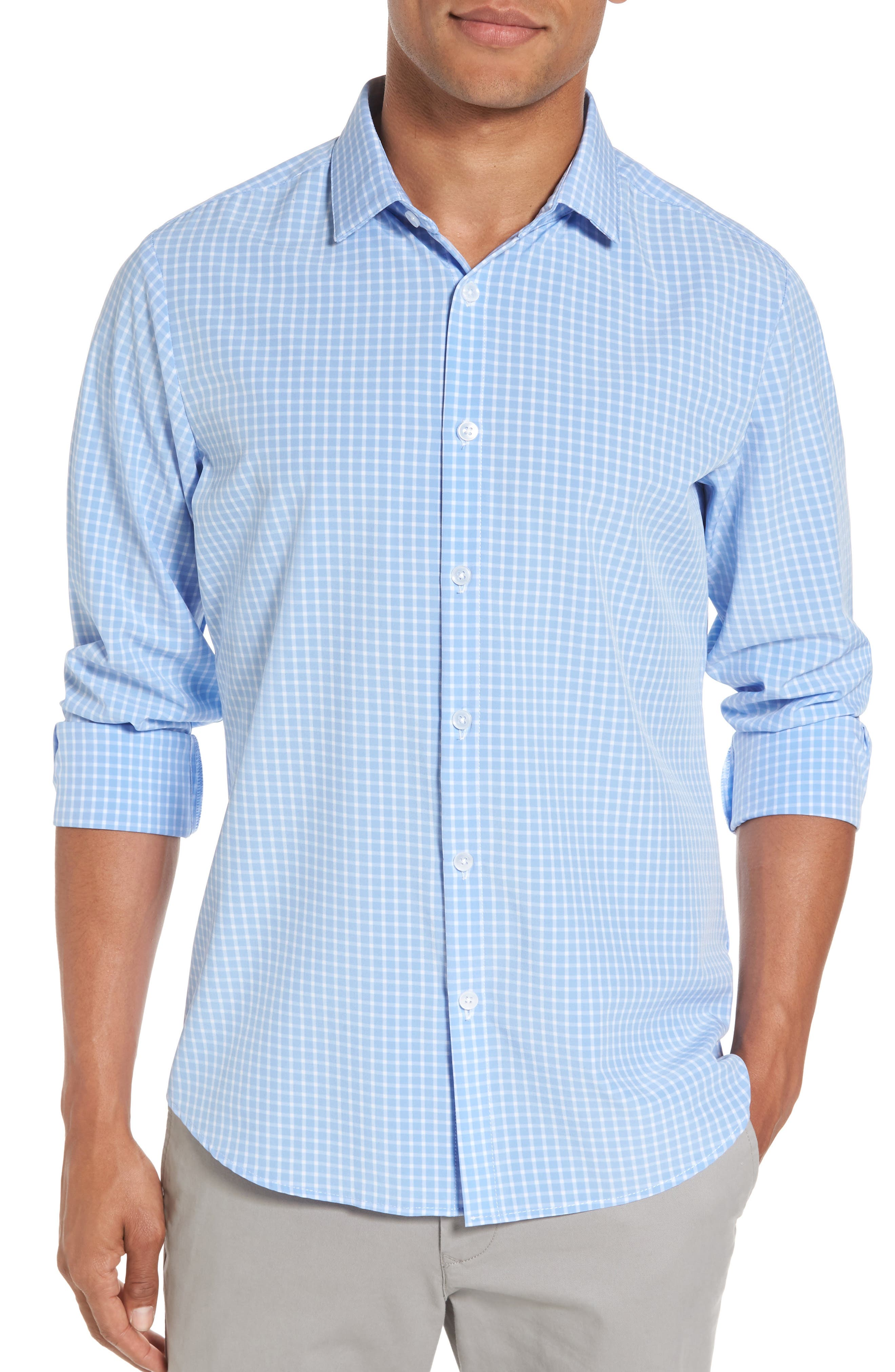 Carter Windowpane Check Sport Shirt,                         Main,                         color, Blue