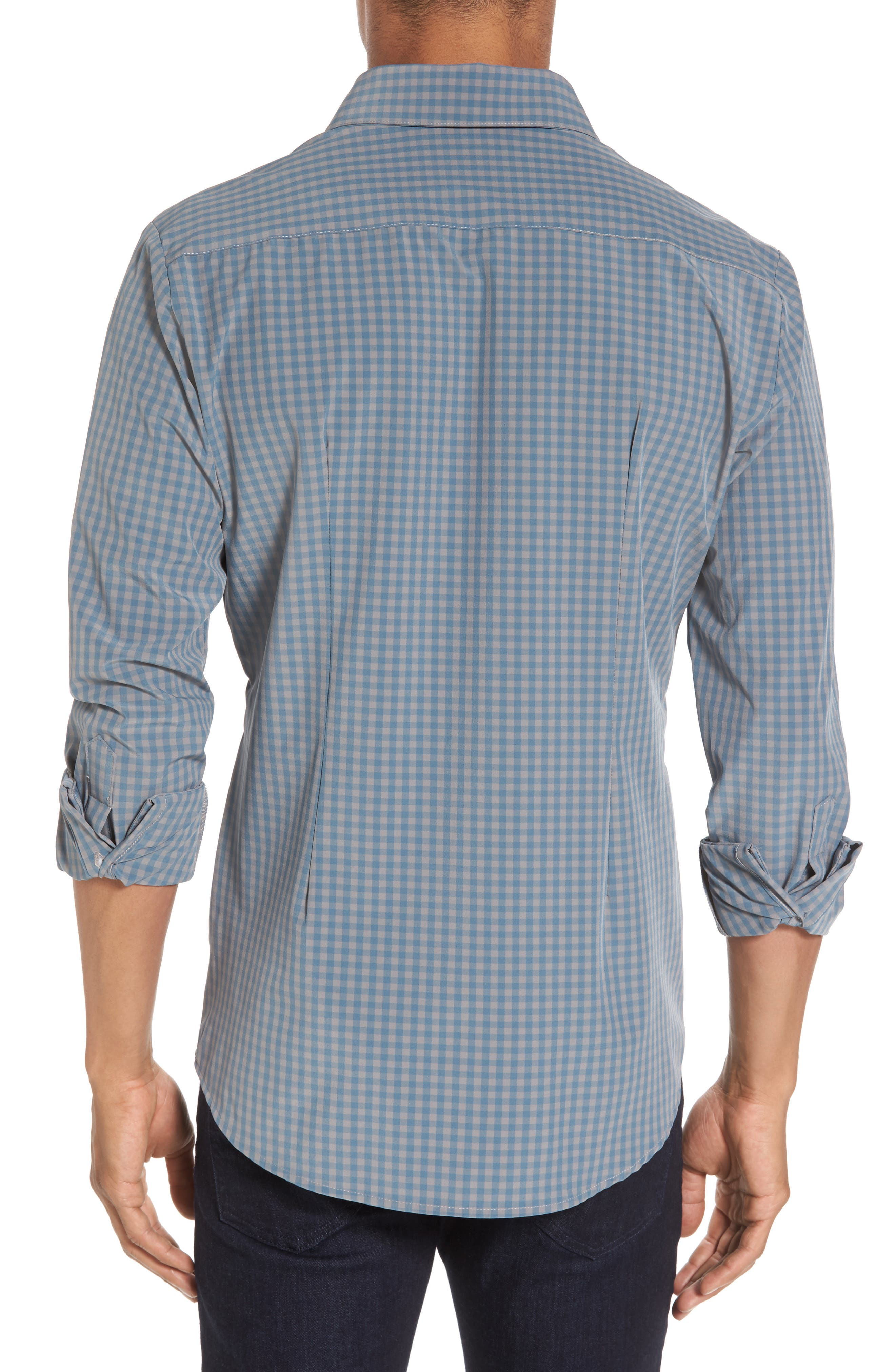 Knox Blue Smoke & Grey Gingham Sport Shirt,                             Alternate thumbnail 2, color,                             Blue