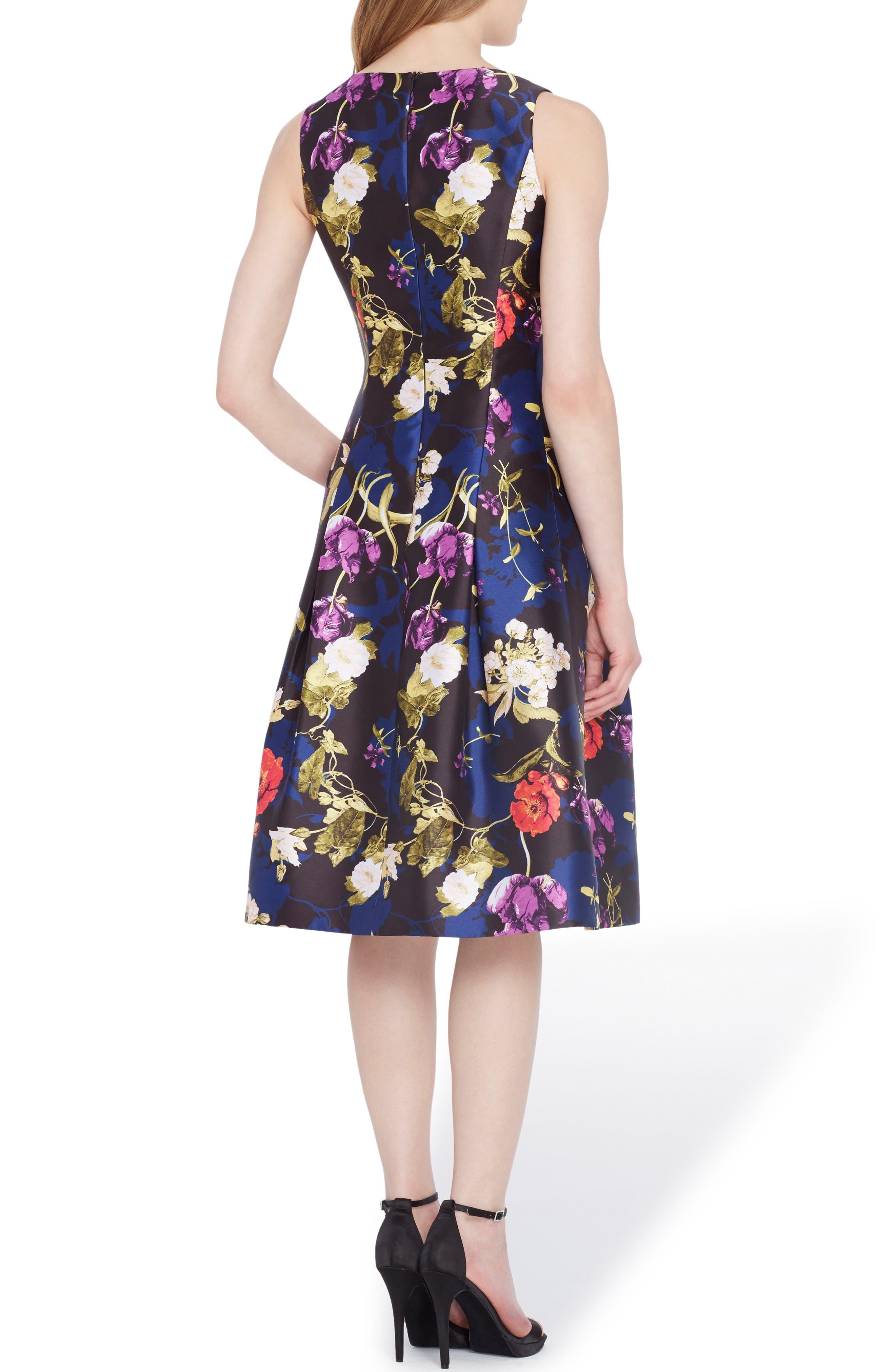 Floral Fit & Flare Dress,                             Alternate thumbnail 2, color,                             Black/ Red/ Violet