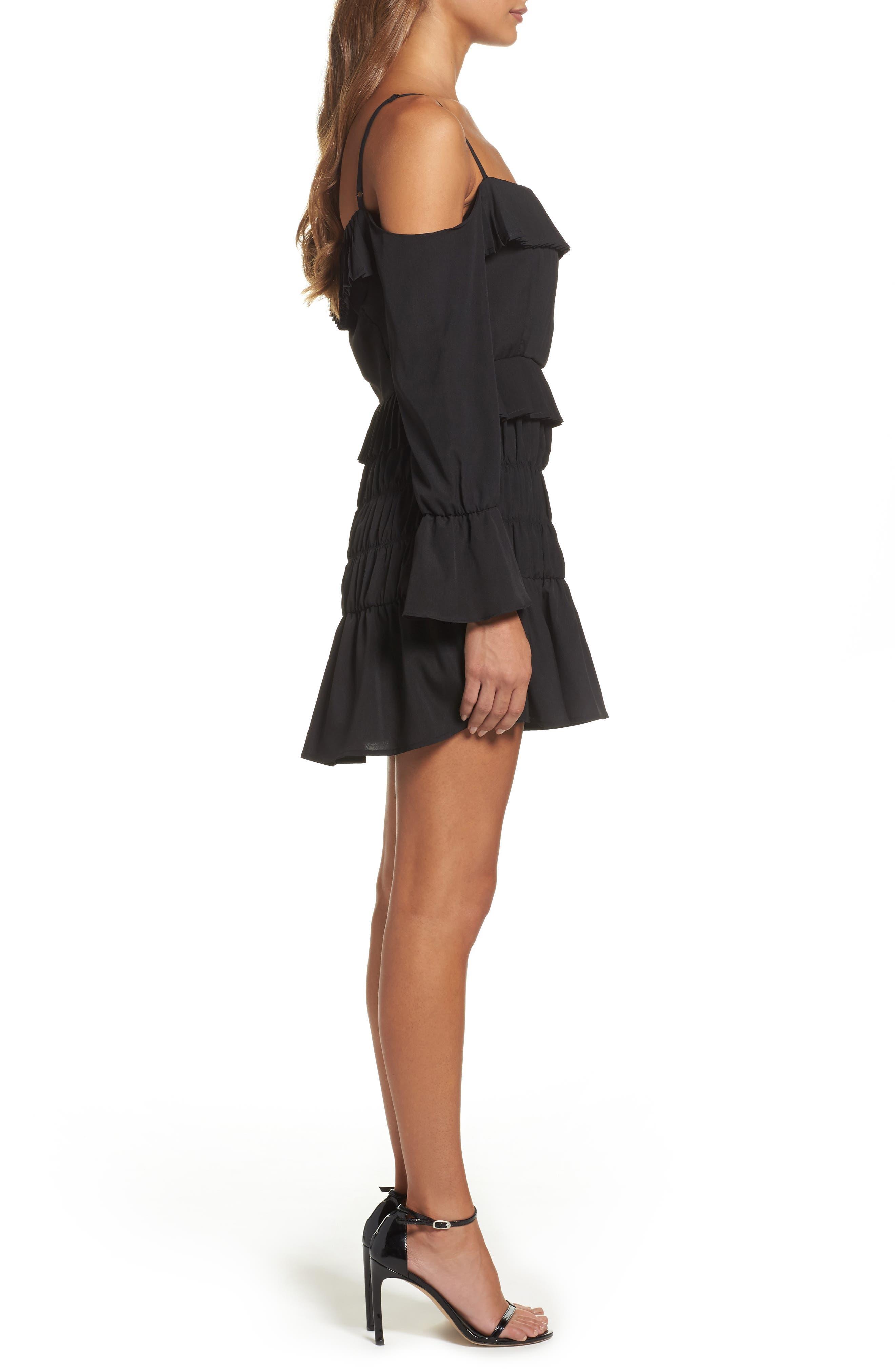 Plissé Off the Shoulder Dress,                             Alternate thumbnail 3, color,                             Black