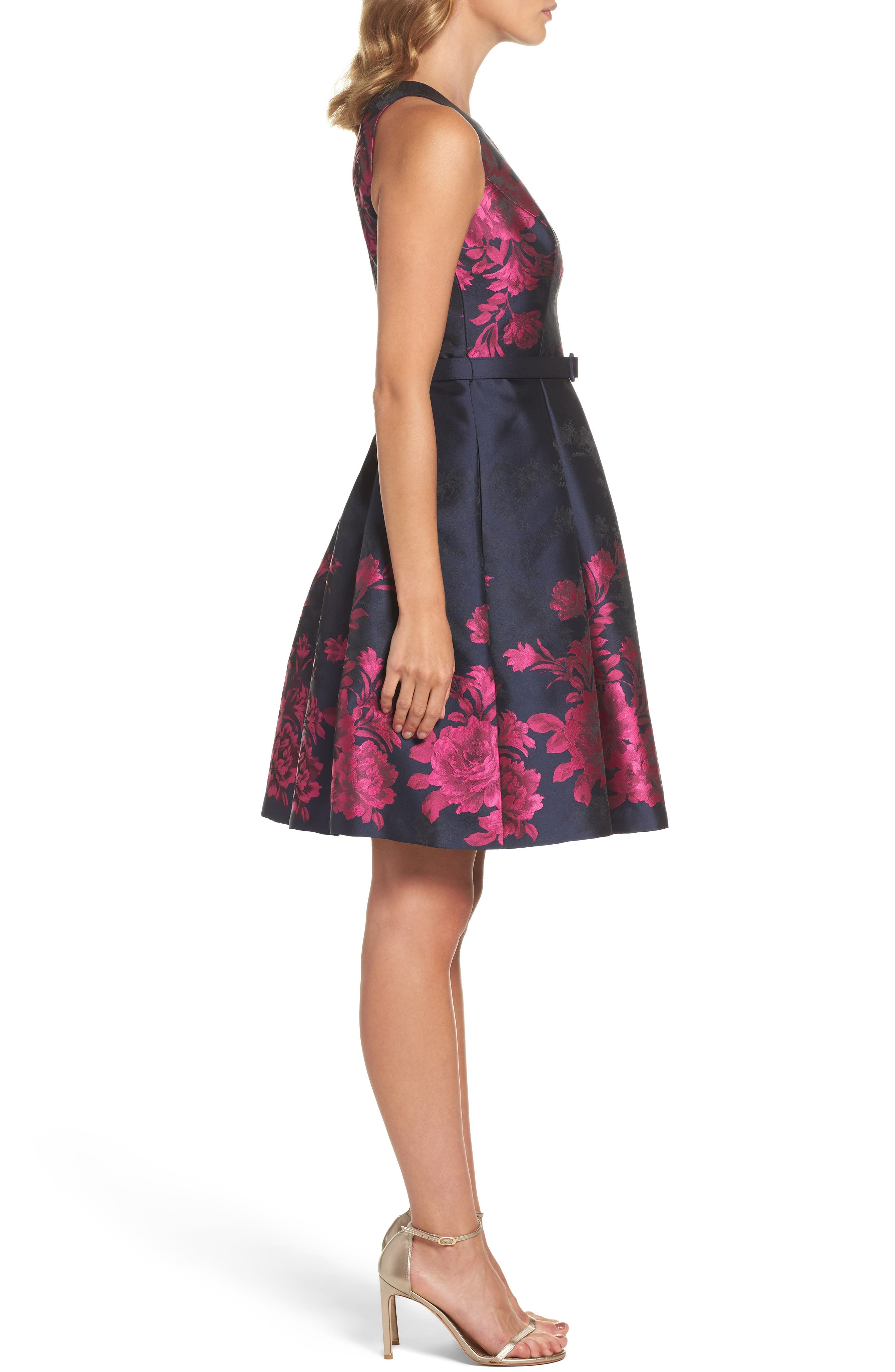 Floral Jacquard Fit & Flare Dress,                             Alternate thumbnail 3, color,                             Navy/ Pink