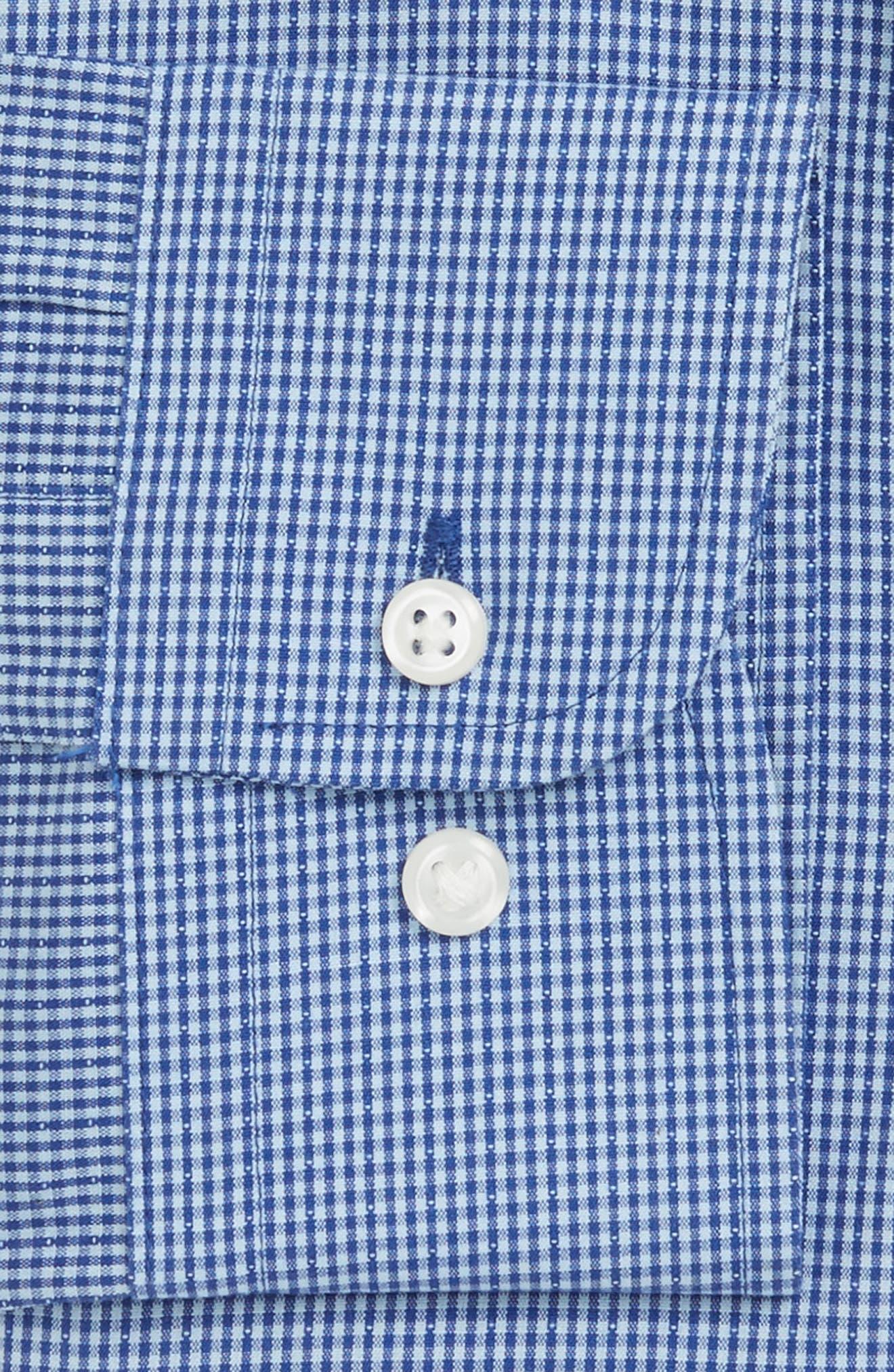 Smartcare<sup>™</sup> Trim Fit Check Dress Shirt,                             Alternate thumbnail 3, color,                             Blue Nautical