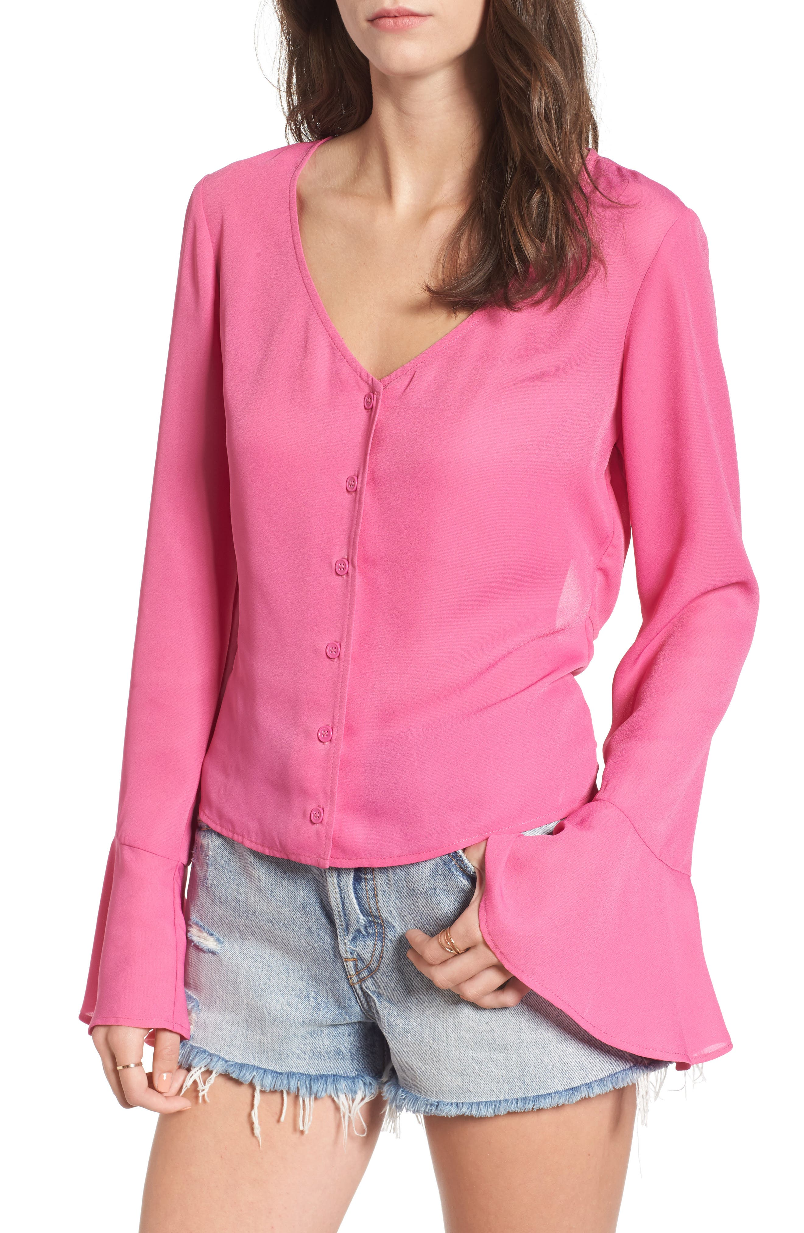 Mimi Chica Tie Back Bell Sleeve Top