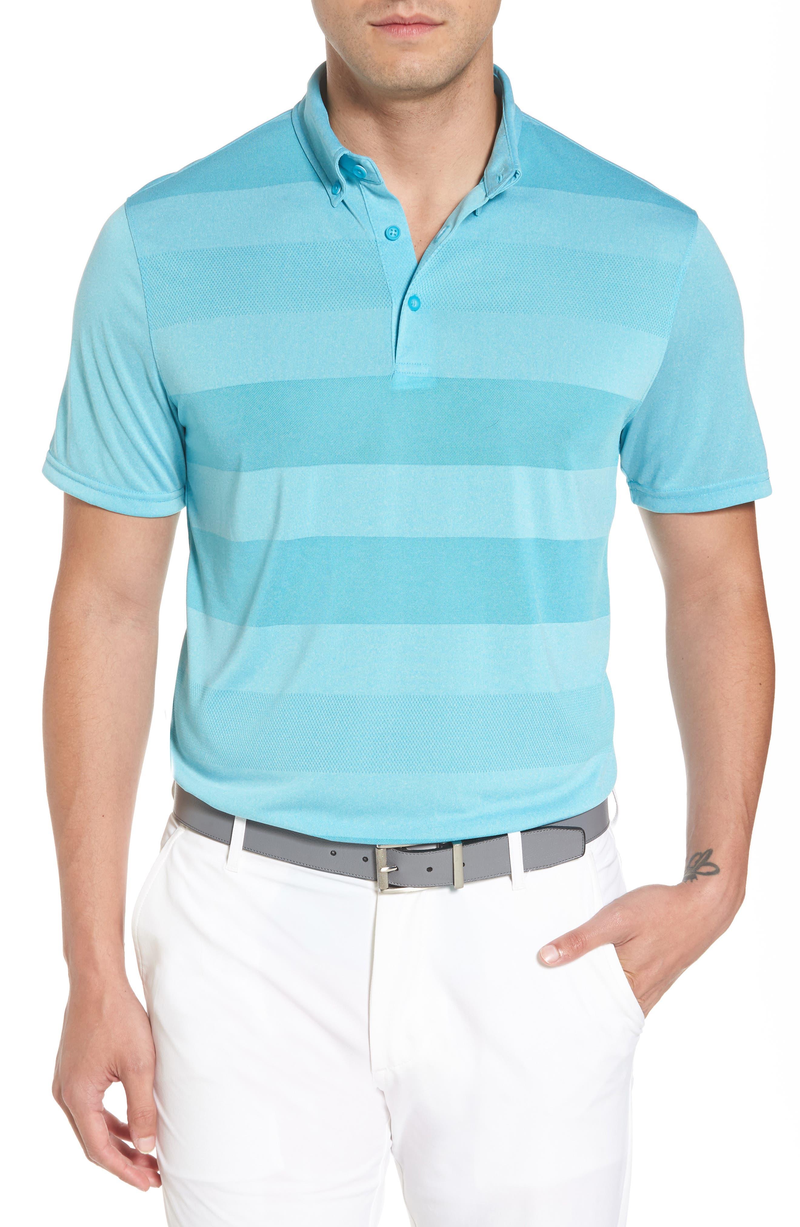 Hansen Stripe Polo,                         Main,                         color, Ocean Blue