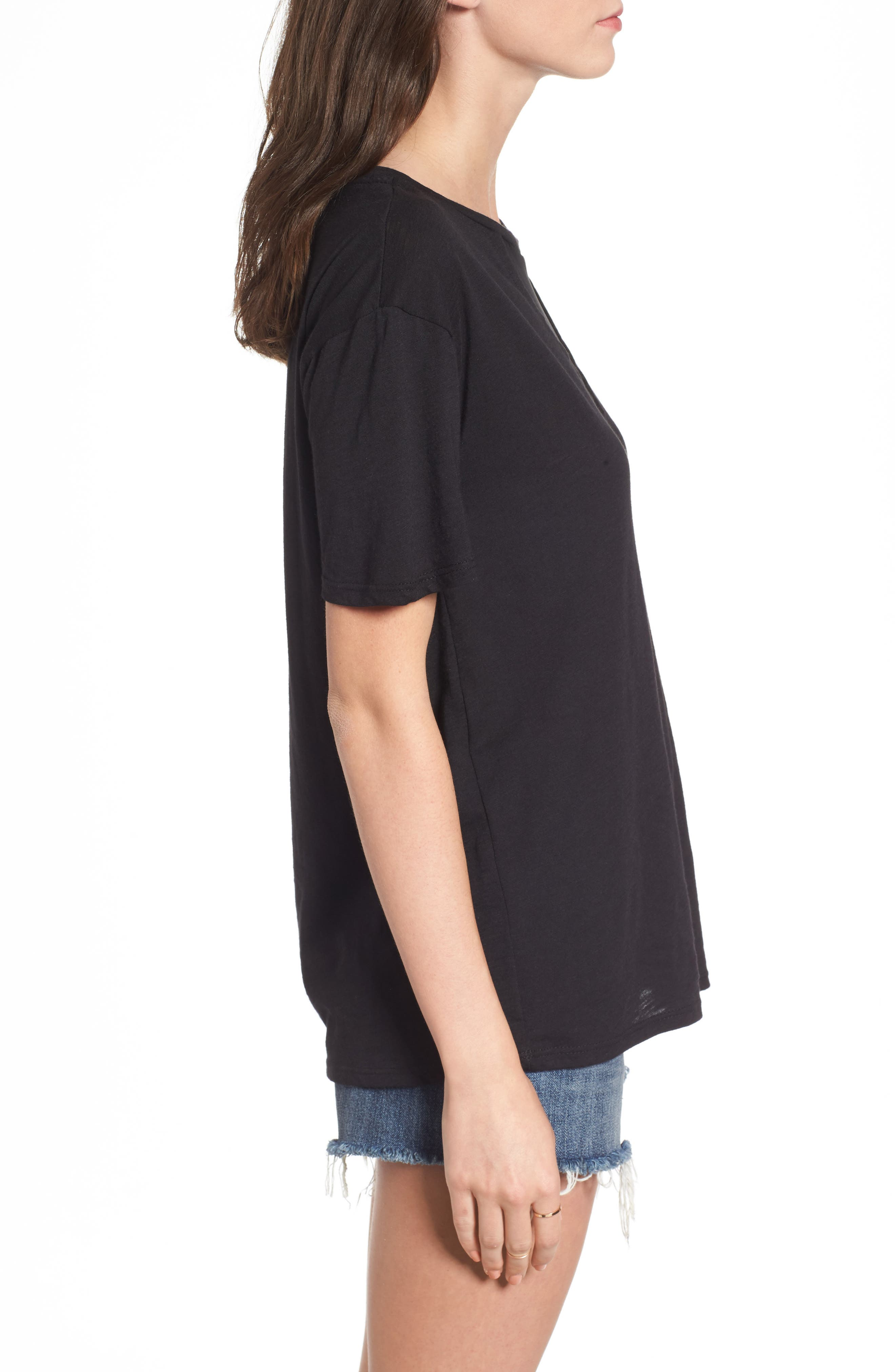 Andrea Mesh Inset Tee,                             Alternate thumbnail 3, color,                             Black