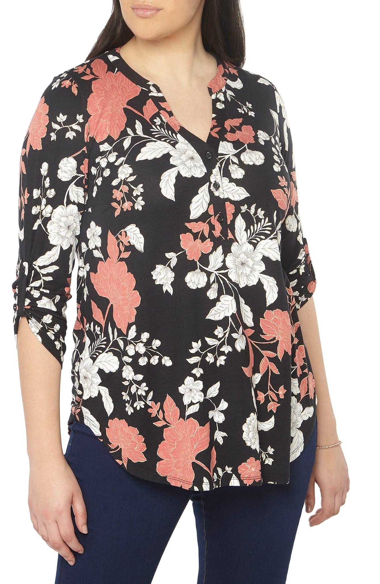 Evans Floral Foil Jersey Shirt (Plus Size)