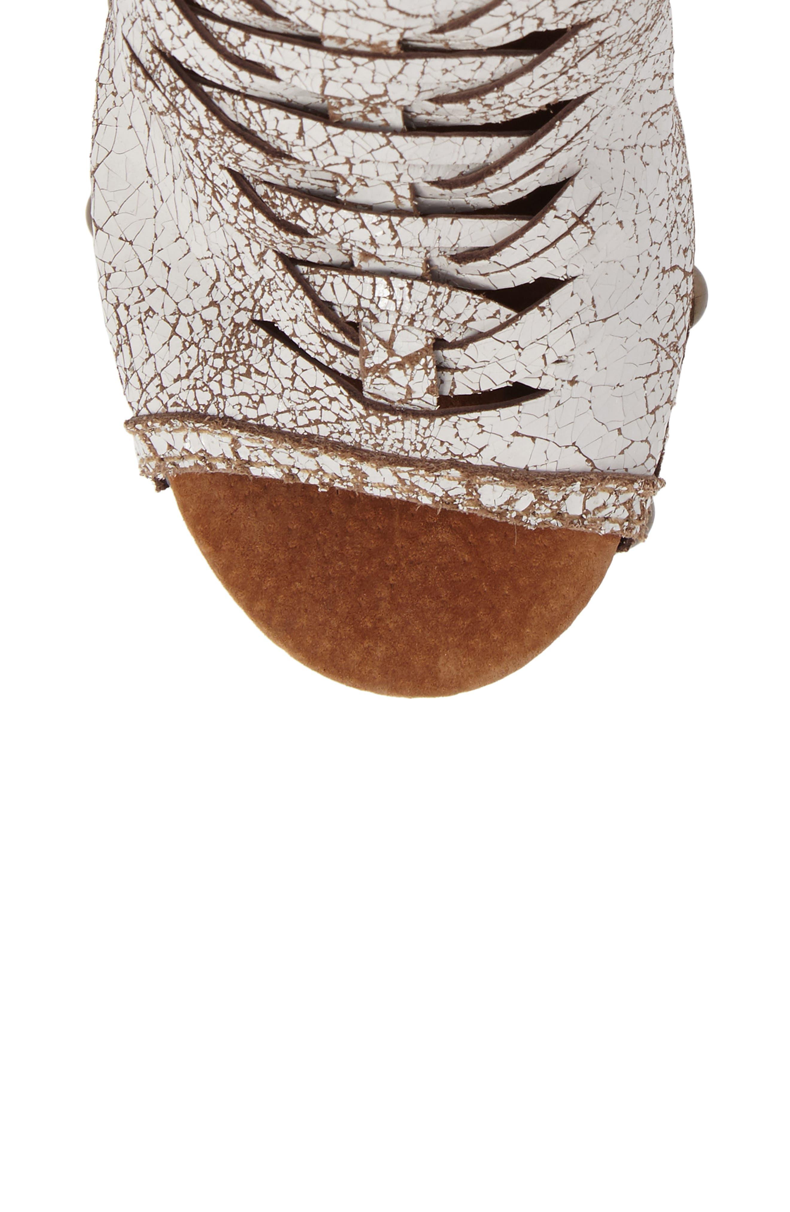 Kinga Platform Sandal,                             Alternate thumbnail 5, color,                             White Leather