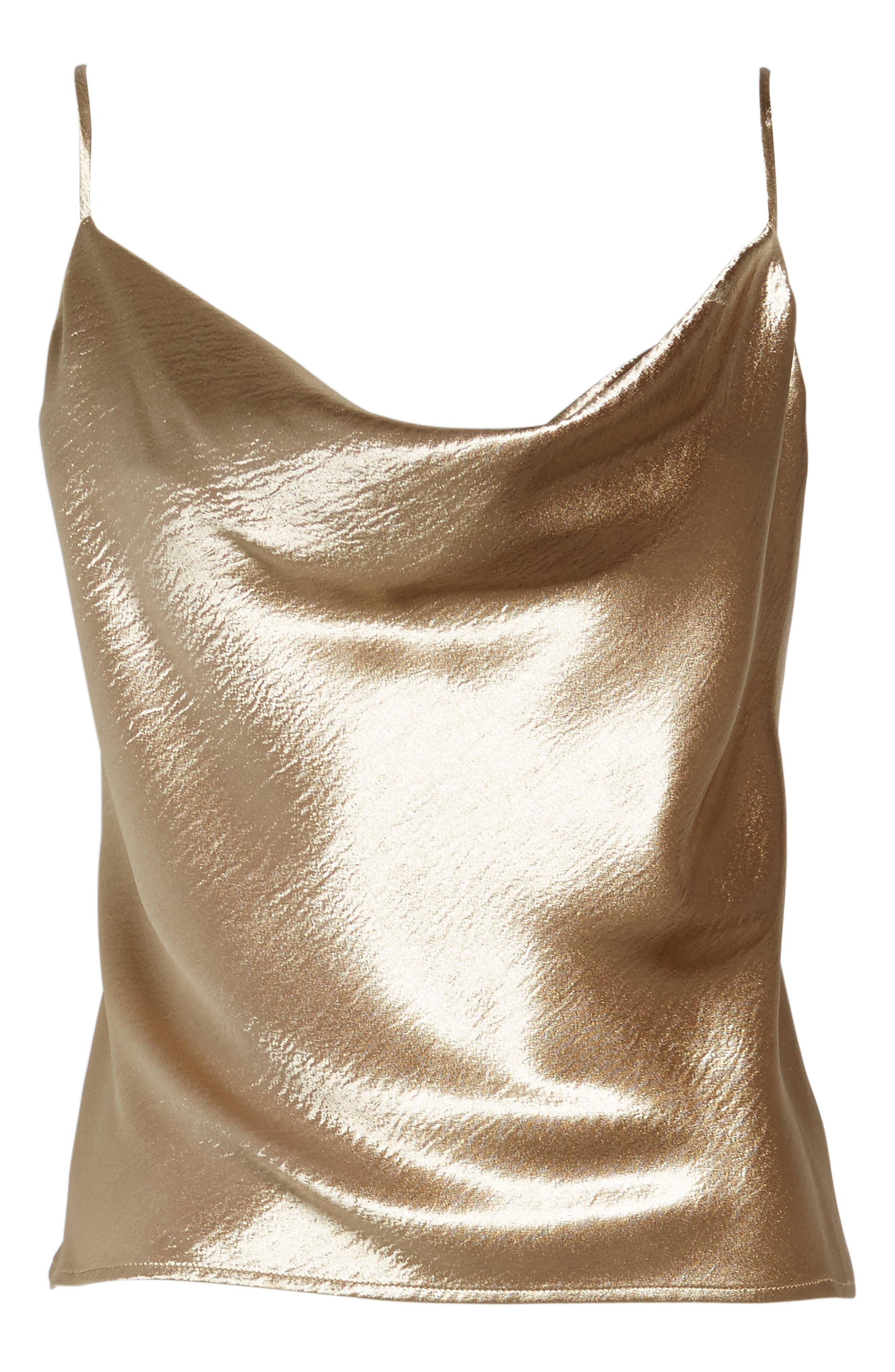 Metallic Cowl Neck Top,                             Alternate thumbnail 6, color,                             Brushed Gold