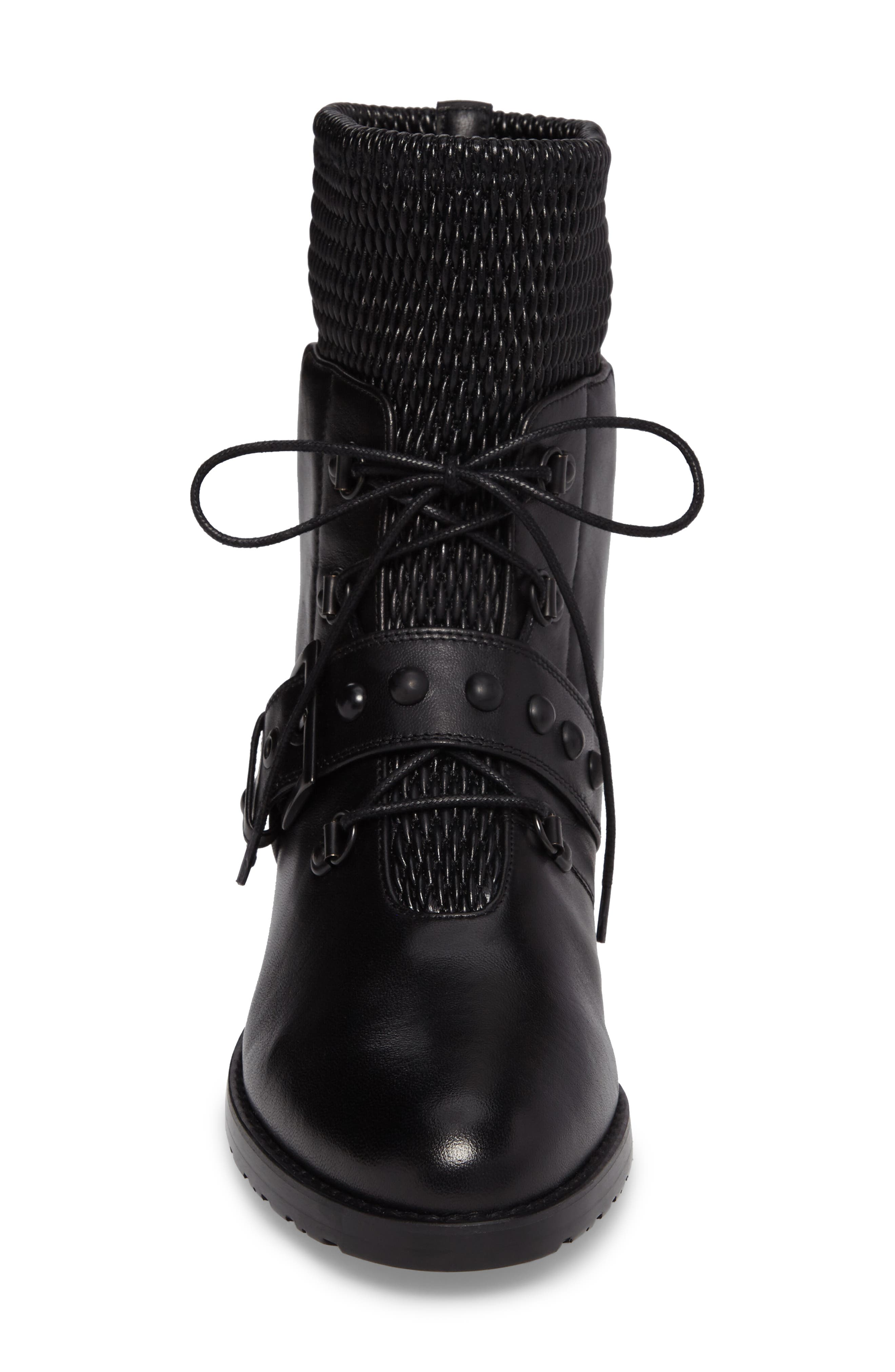 Stitchwork Combat Boot,                             Alternate thumbnail 4, color,                             Black Nappa