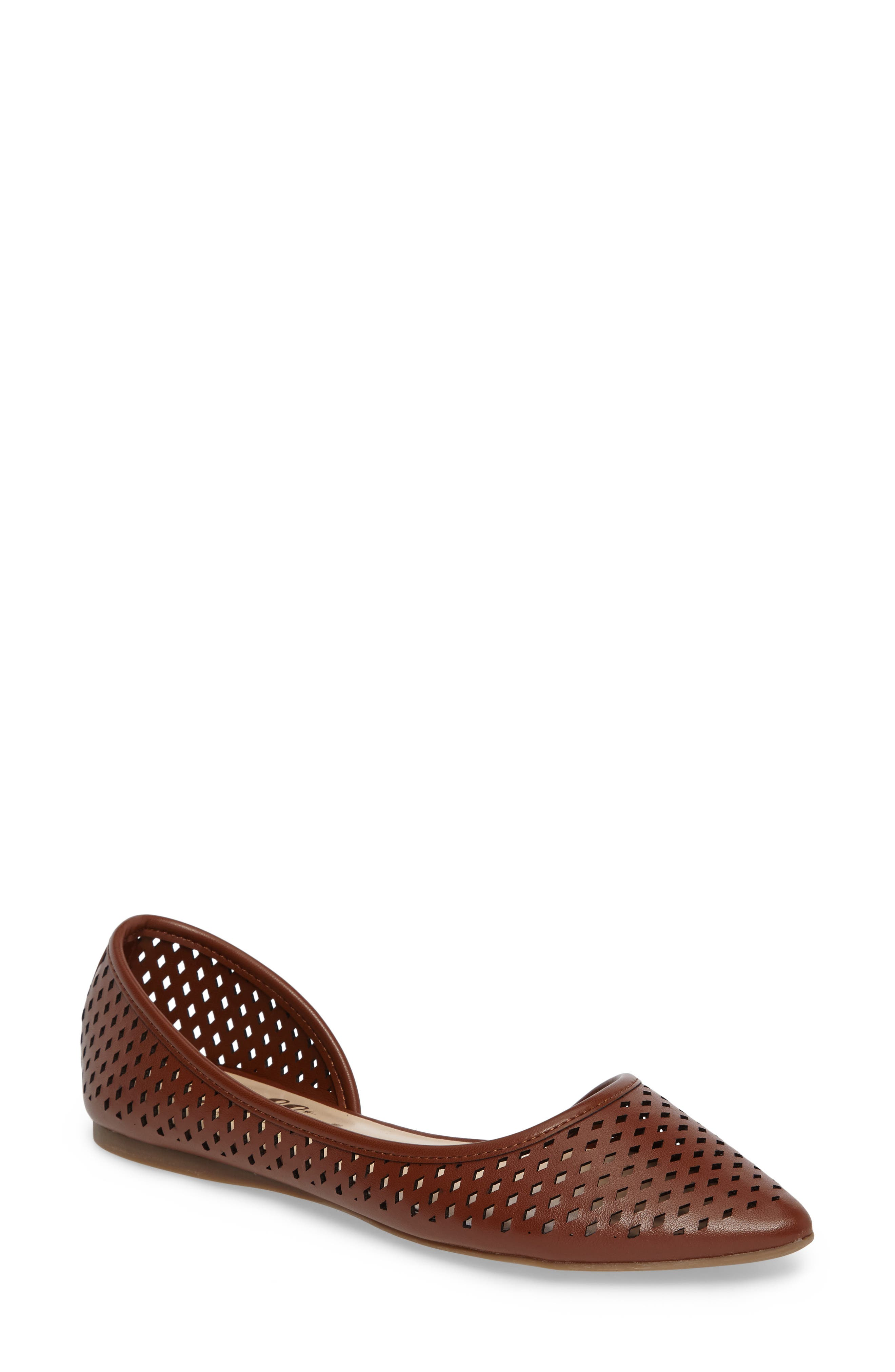 Swiftye Half d'Orsay Flat,                             Main thumbnail 1, color,                             Tan Synthetic Leather