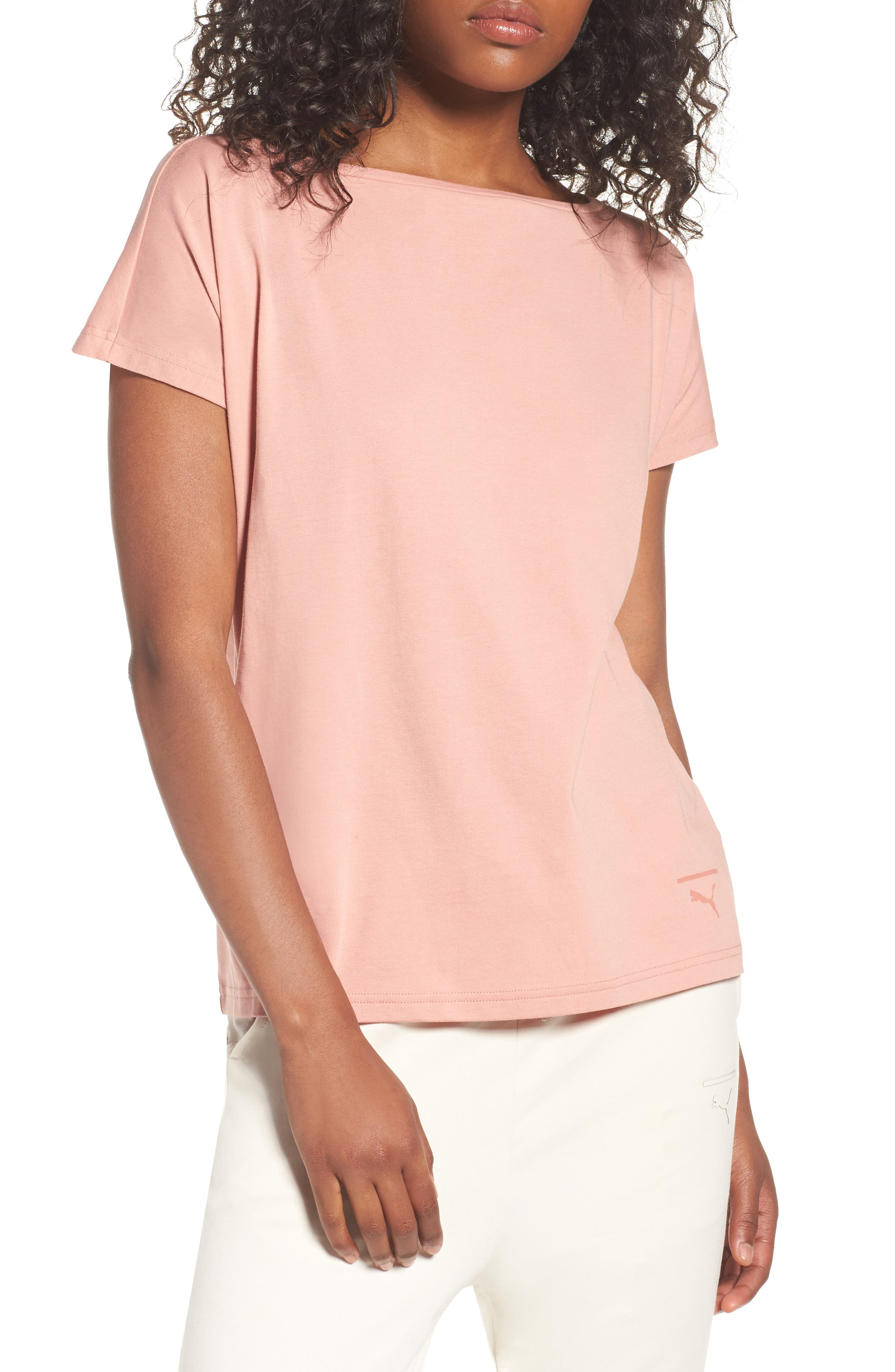 Lux Crisscross Tee,                         Main,                         color, Cameo Brown