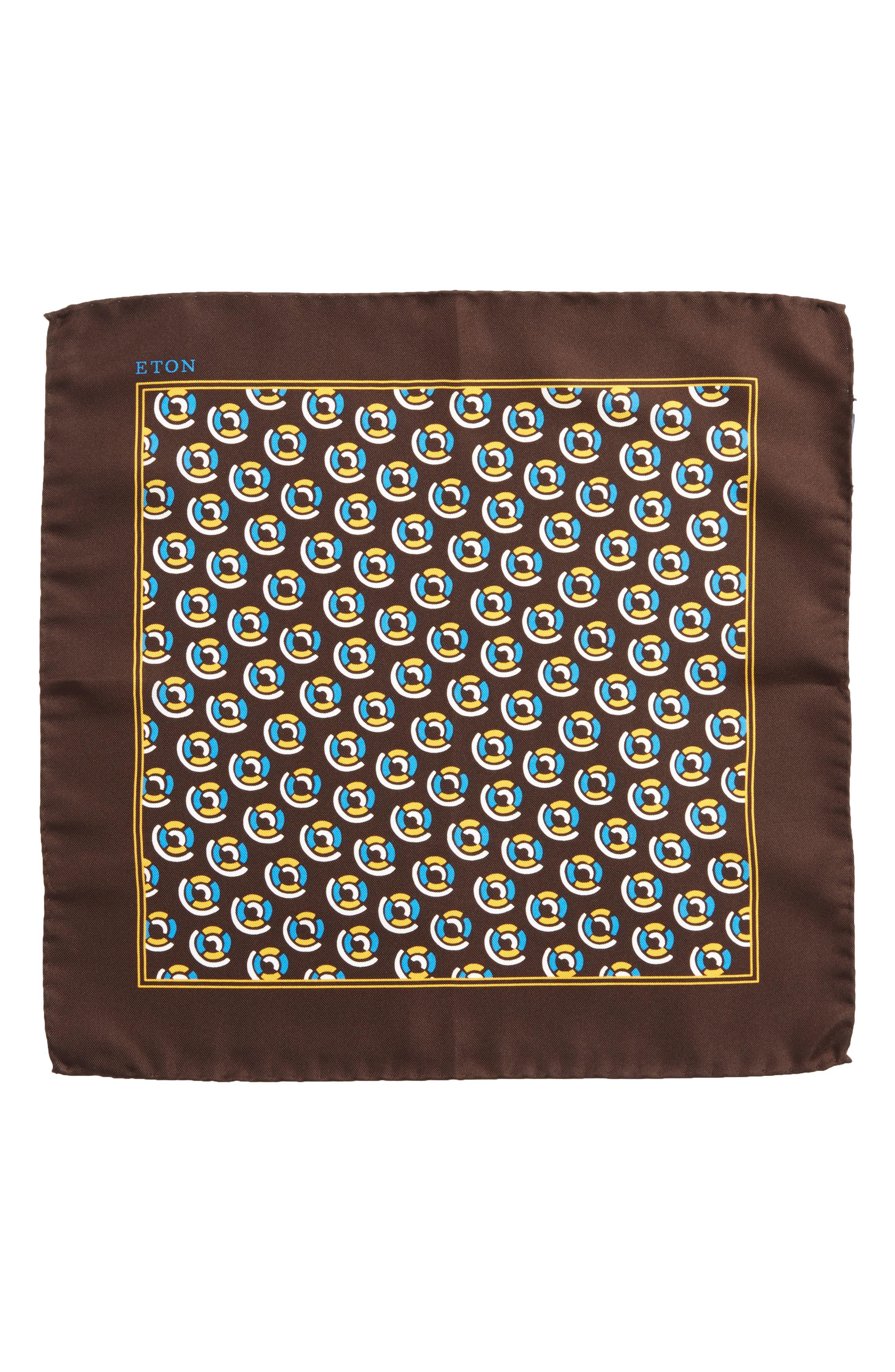 Medallion Silk Pocket Square,                             Alternate thumbnail 2, color,                             Brown