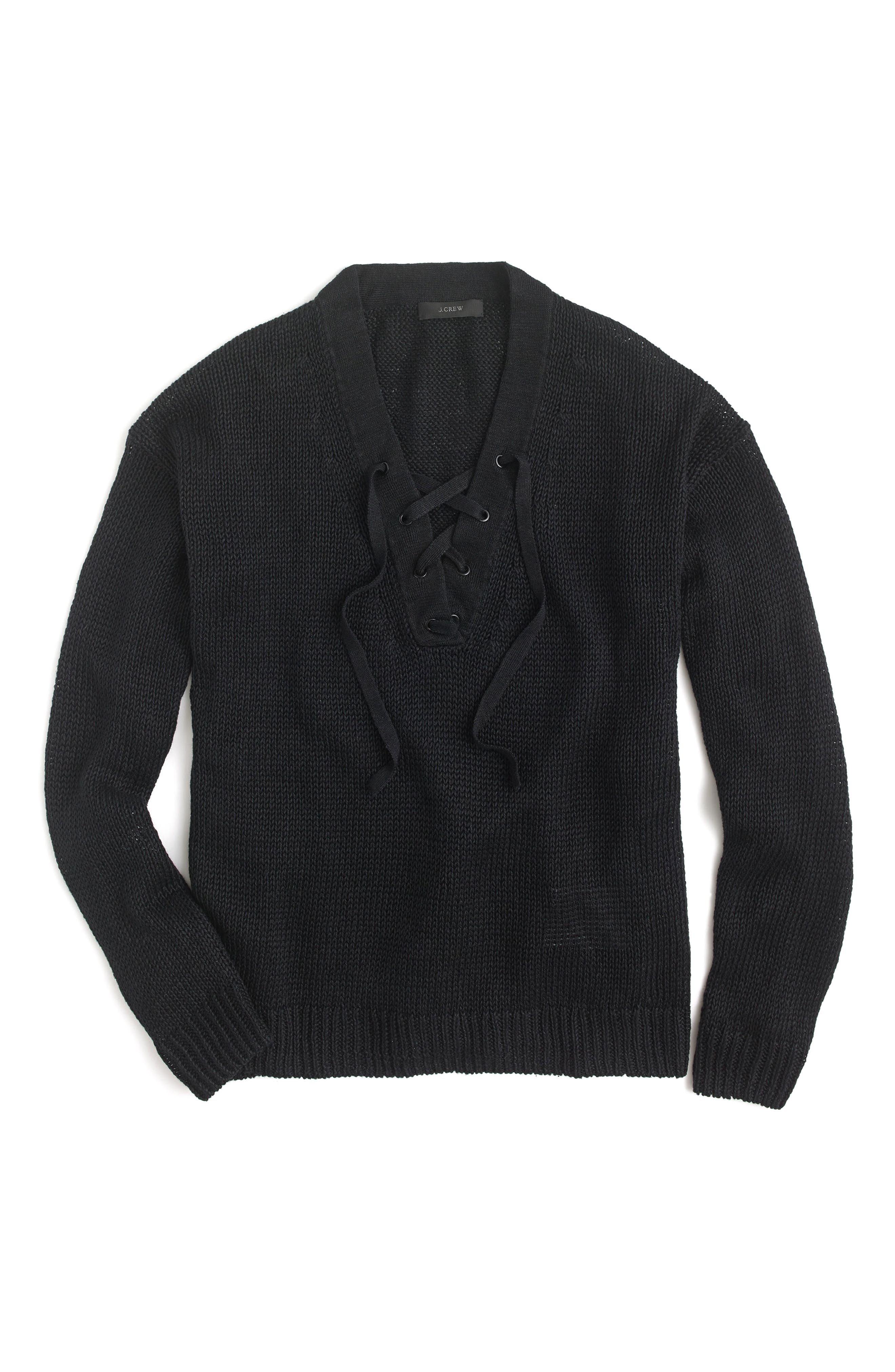 Alternate Image 1 Selected - J.Crew Linen Lace-Up Beach Sweater