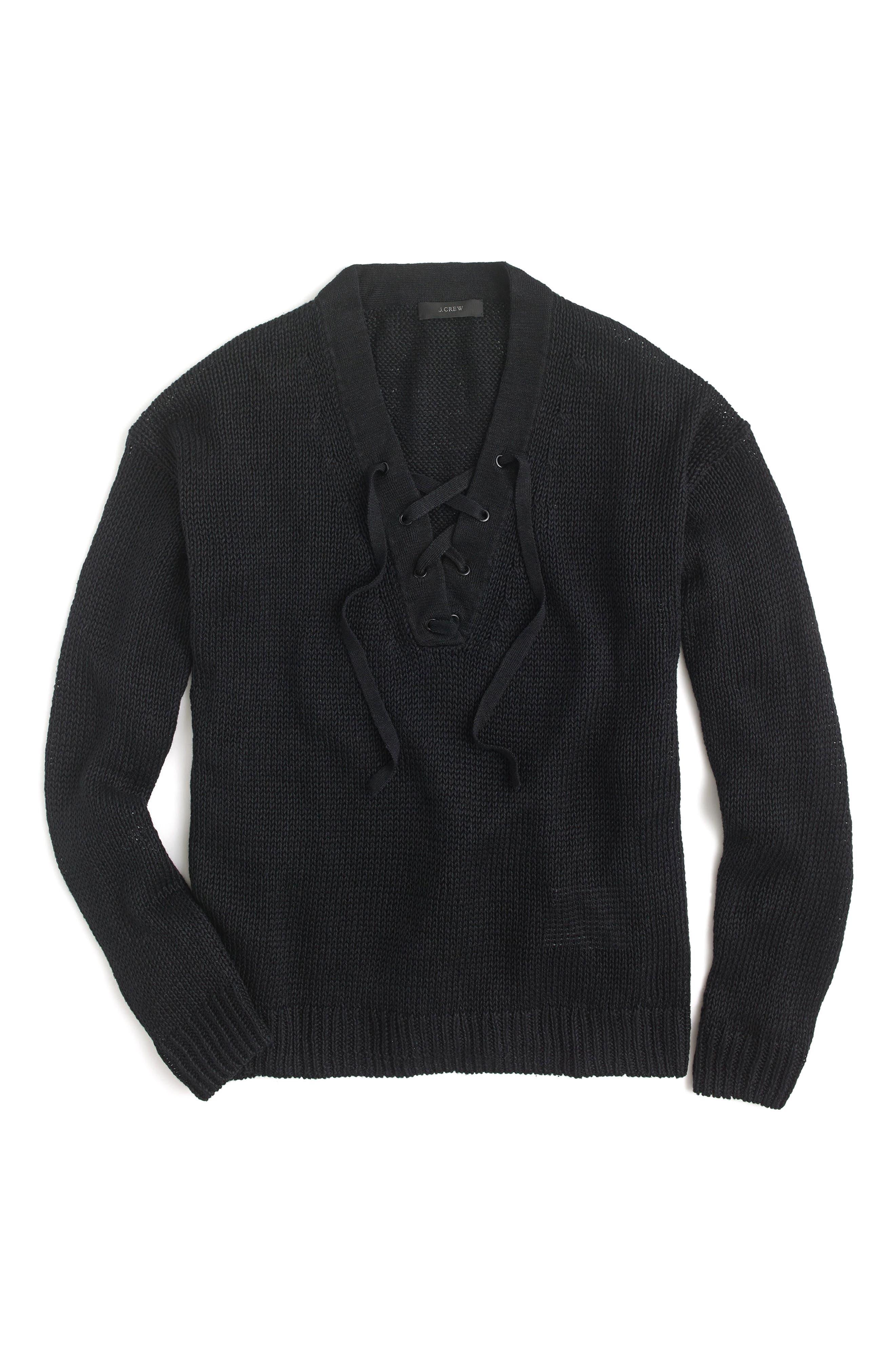 Main Image - J.Crew Linen Lace-Up Beach Sweater
