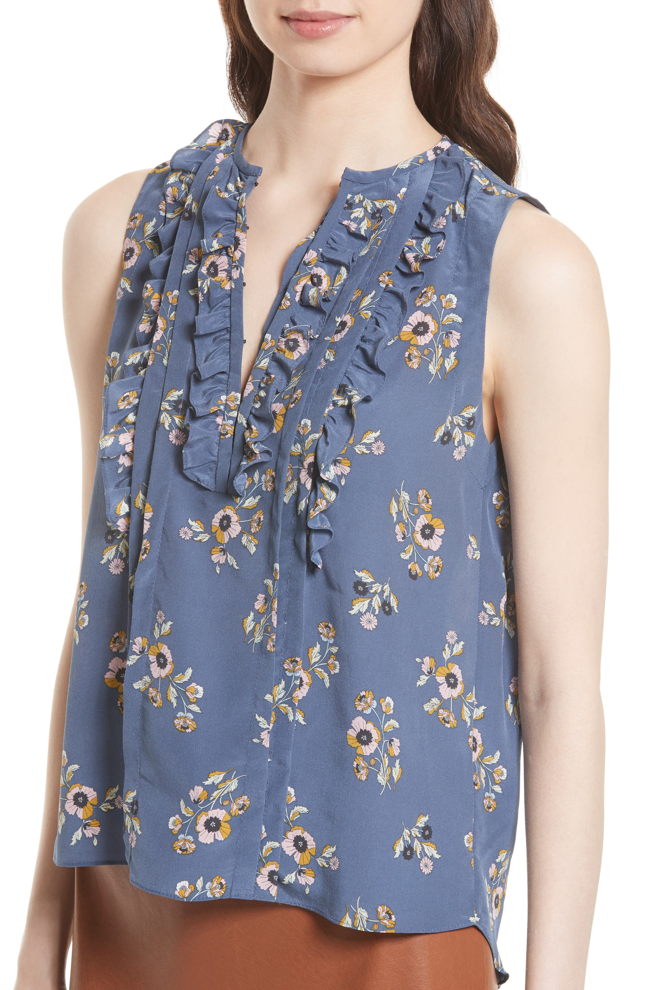 Silk Sleeveless Top,                             Alternate thumbnail 4, color,                             Blue Combo