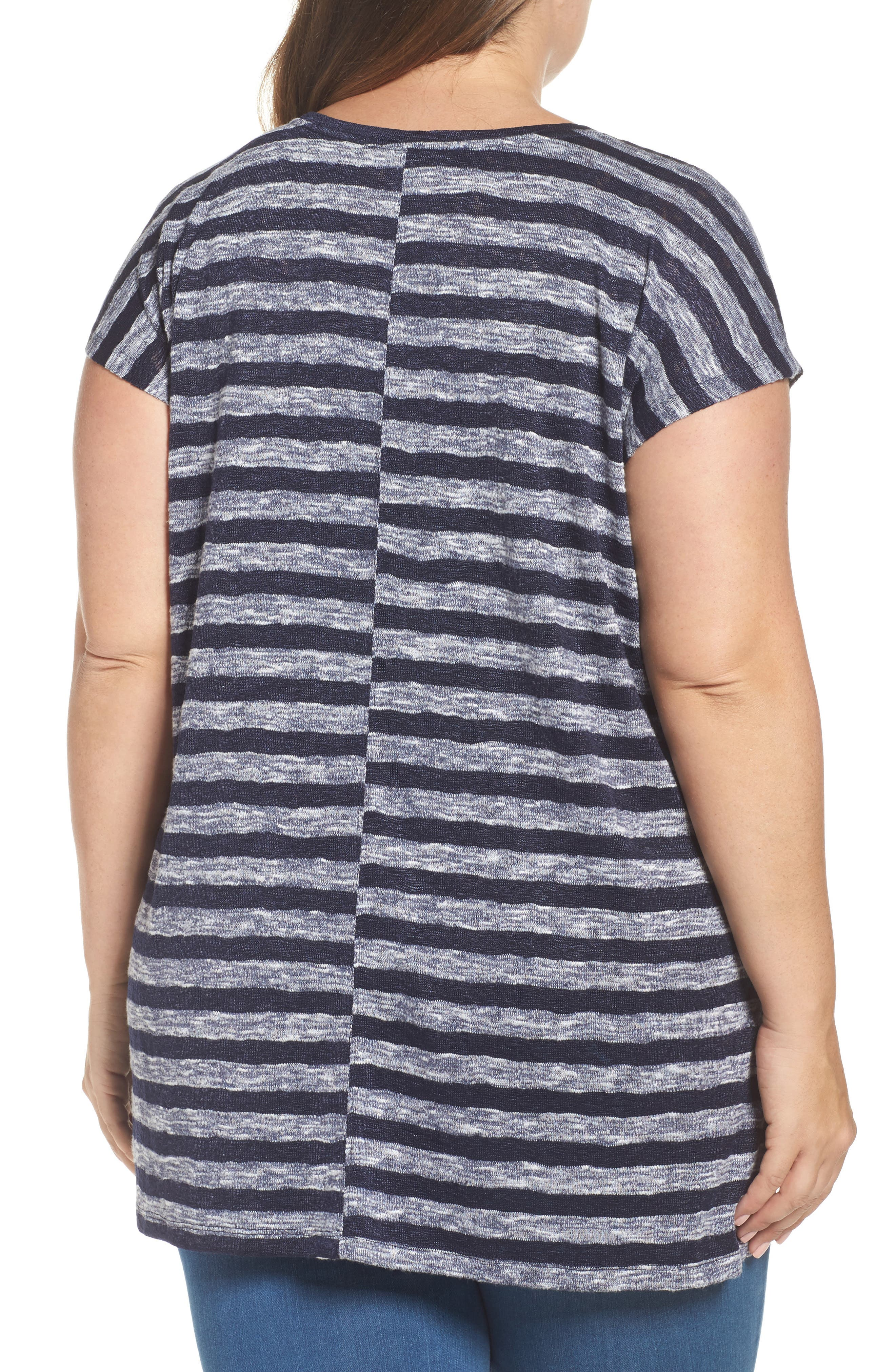 Alternate Image 2  - Two by Vince Camuto Uneven Stripe High/Low Tee (Plus Size)