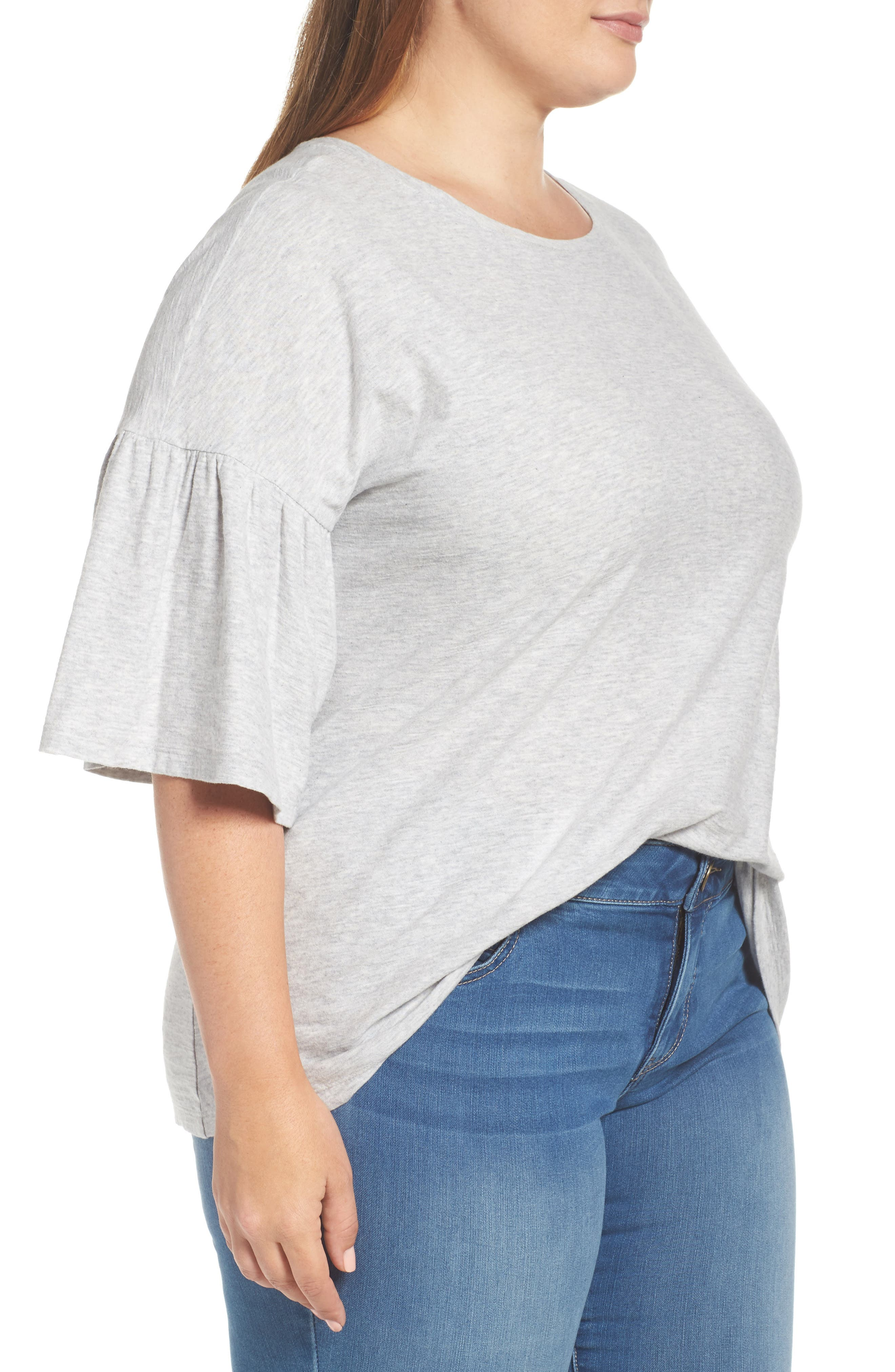 Alternate Image 3  - Vince Camuto Relaxed Bell Sleeve Cotton Tee (Plus Size)