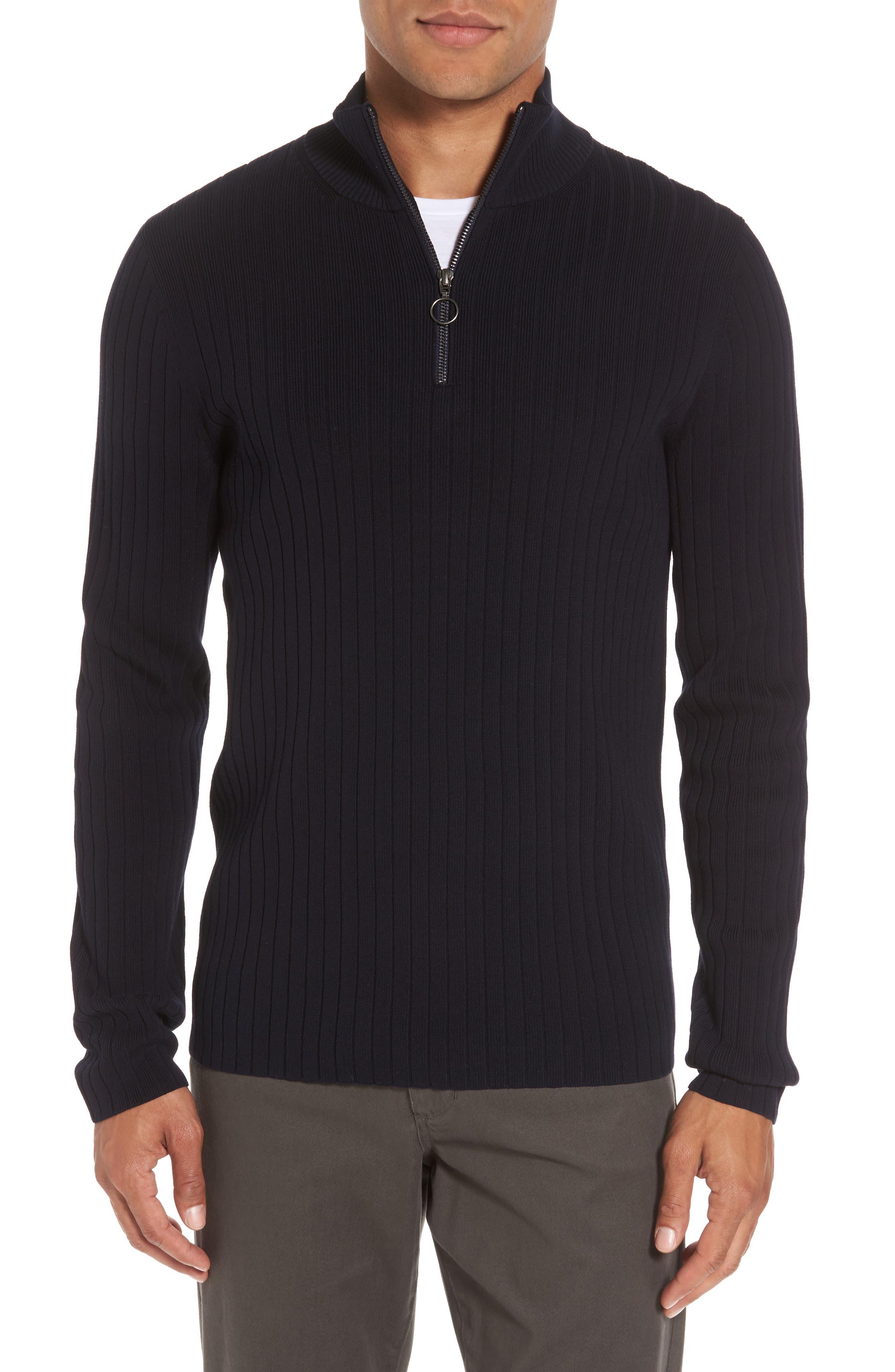 Half Zip Mock Neck Sweater,                         Main,                         color, Coastal