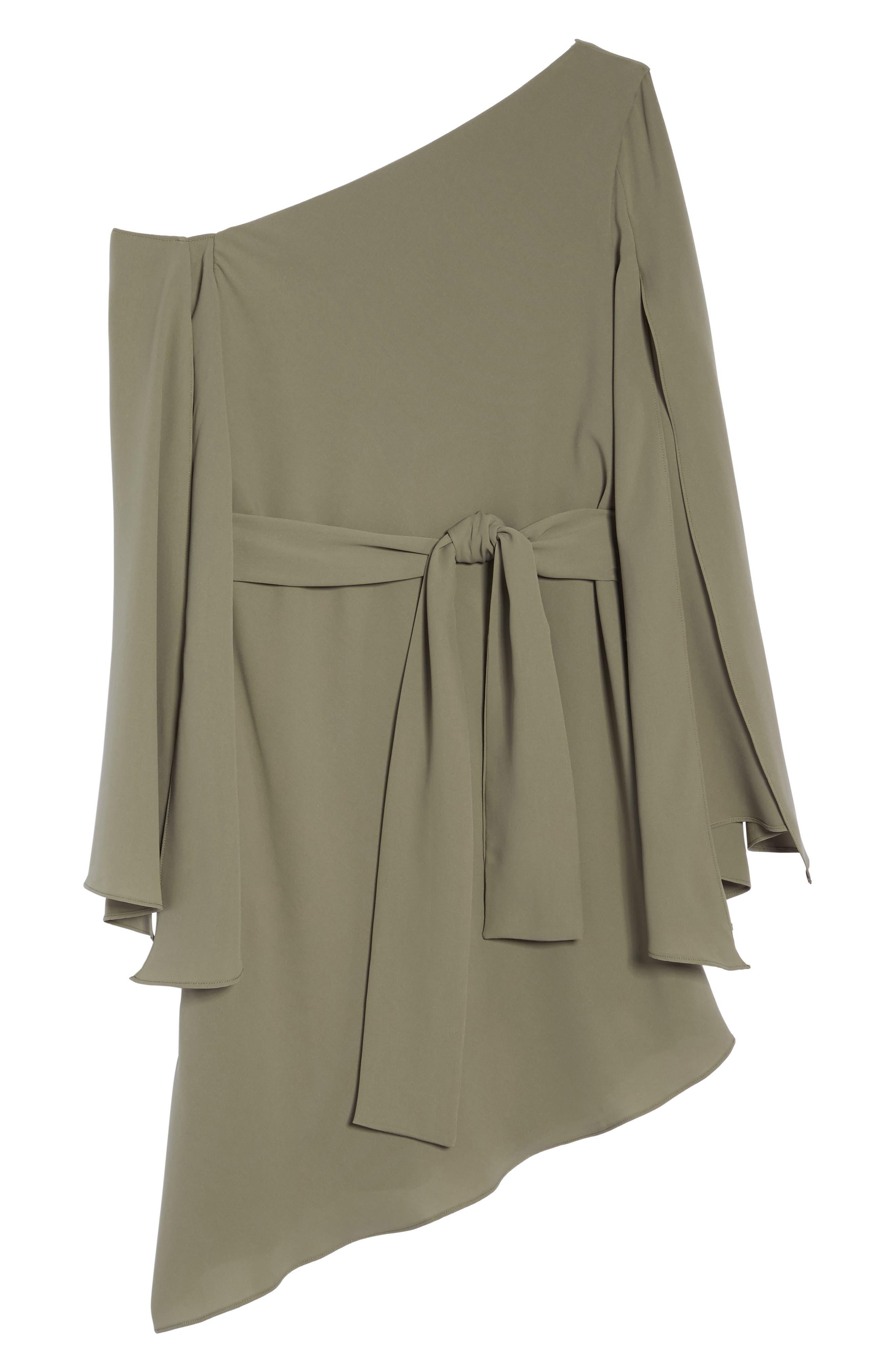 Beyond Me One-Shoulder Dress,                             Alternate thumbnail 7, color,                             Khaki